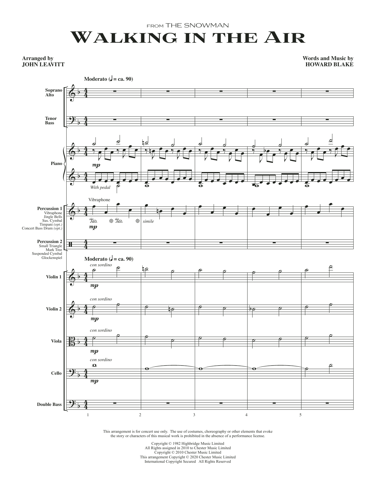 Walking In The Air (from The Snowman) (arr. John Leavitt) - Full Score Sheet Music