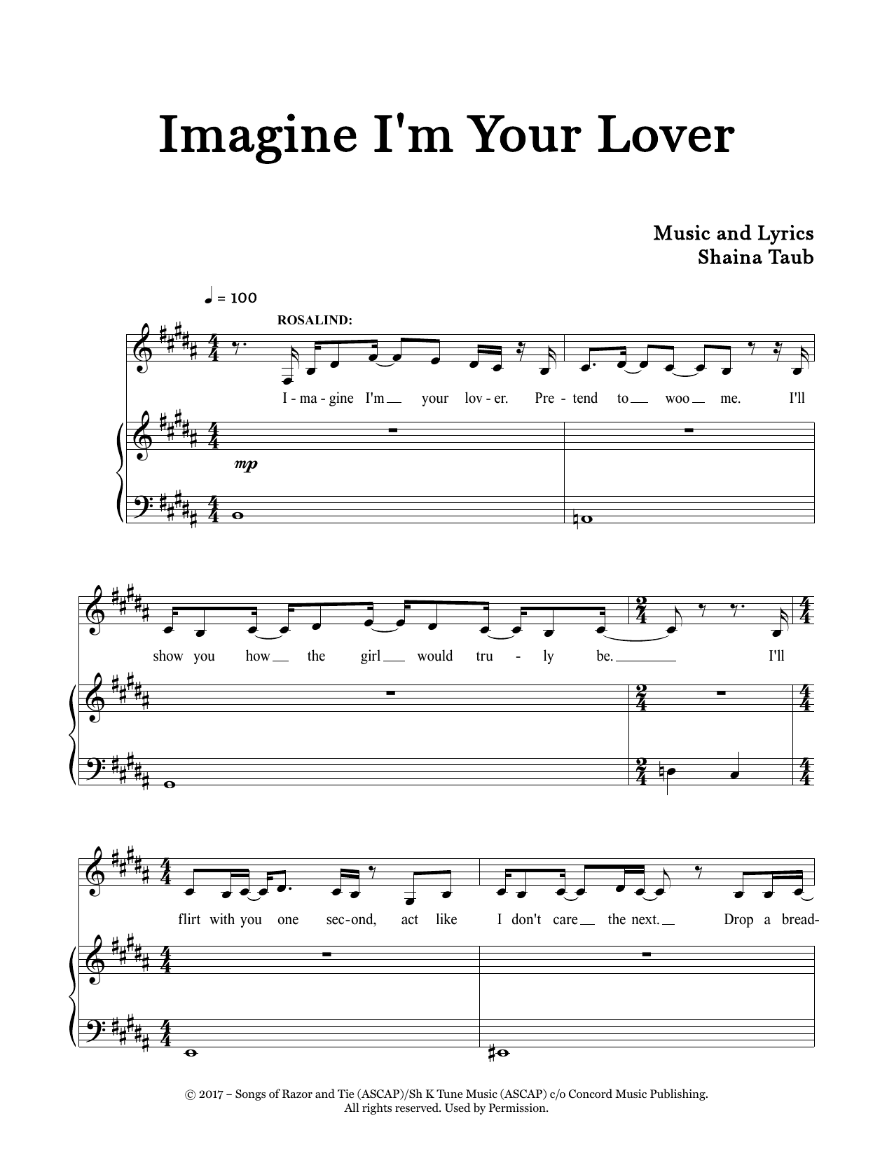 Imagine I'm Your Lover (from As You Like It) Digitale Noten