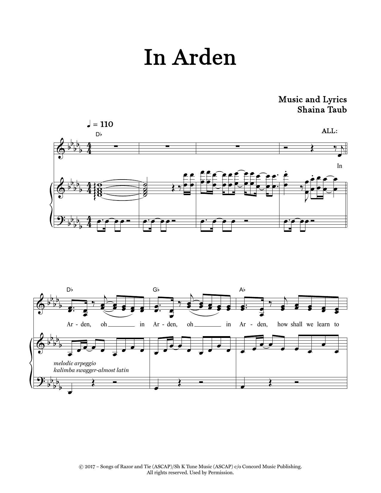 In Arden (from As You Like It) Sheet Music