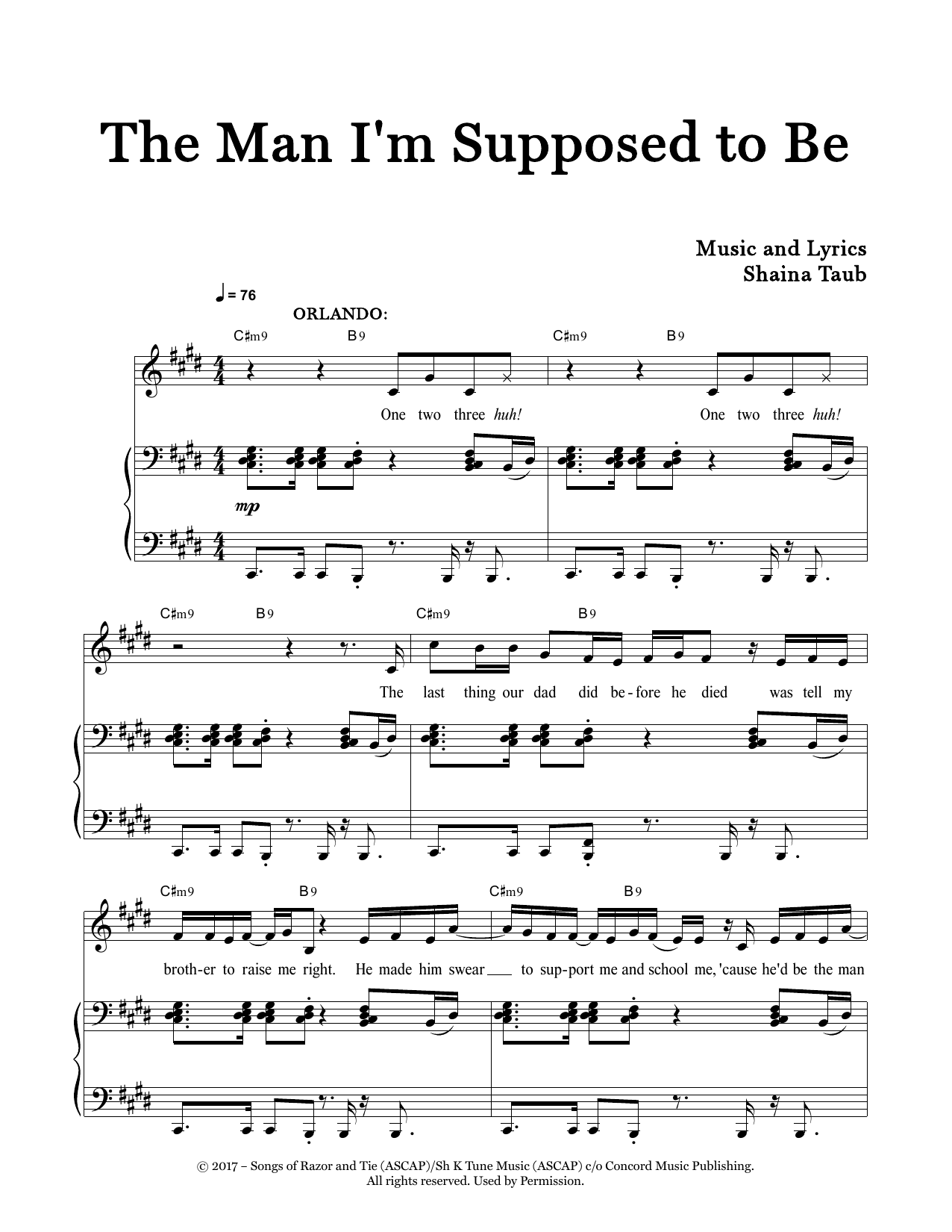 The Man I'm Supposed To Be (from As You Like It) Sheet Music