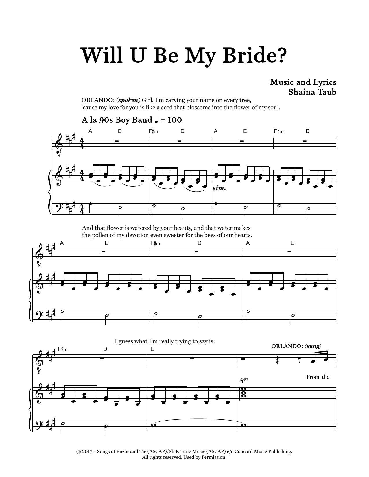 Will U Be My Bride? (from As You Like It) Sheet Music