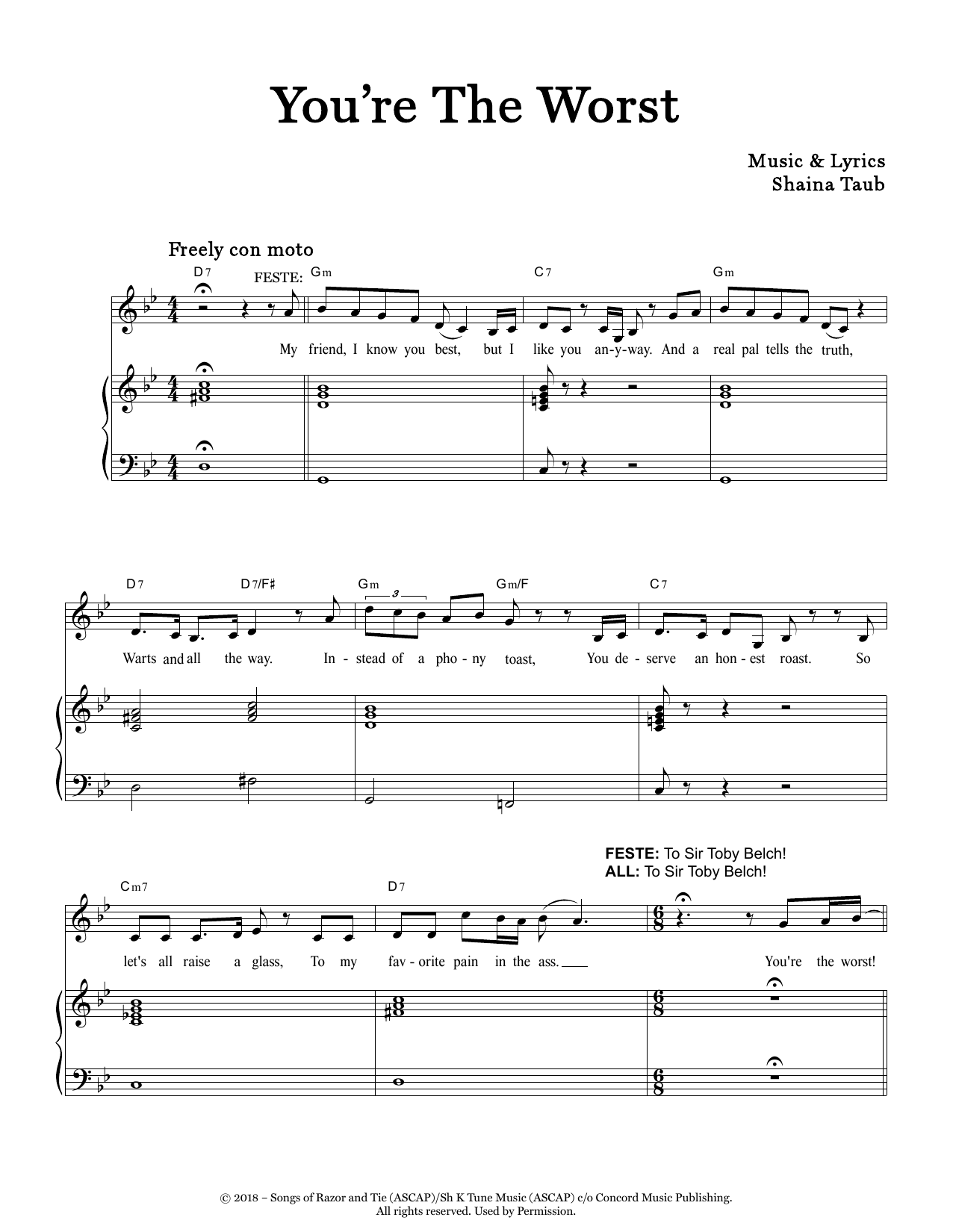 You're The Worst (from Twelfth Night) Sheet Music