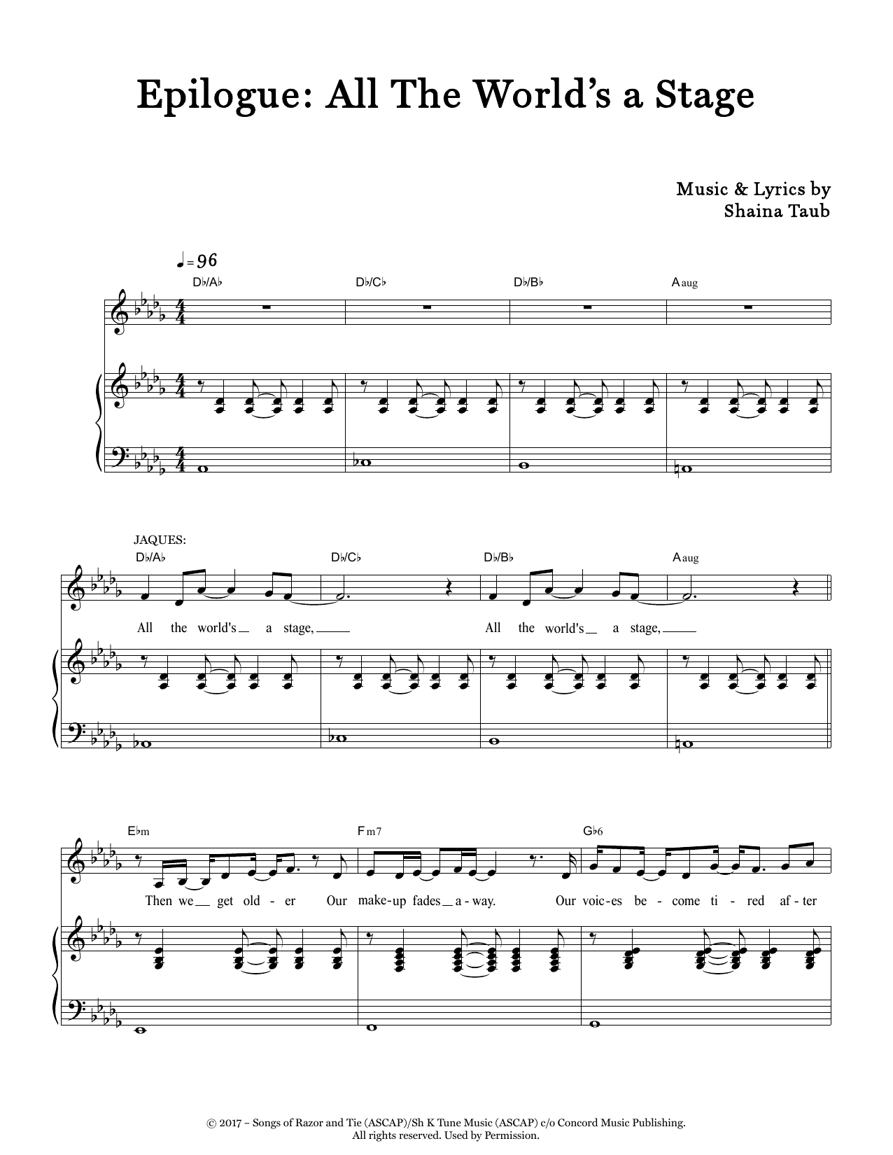 Epilogue: All The World's A Stage (from As You Like It) Sheet Music