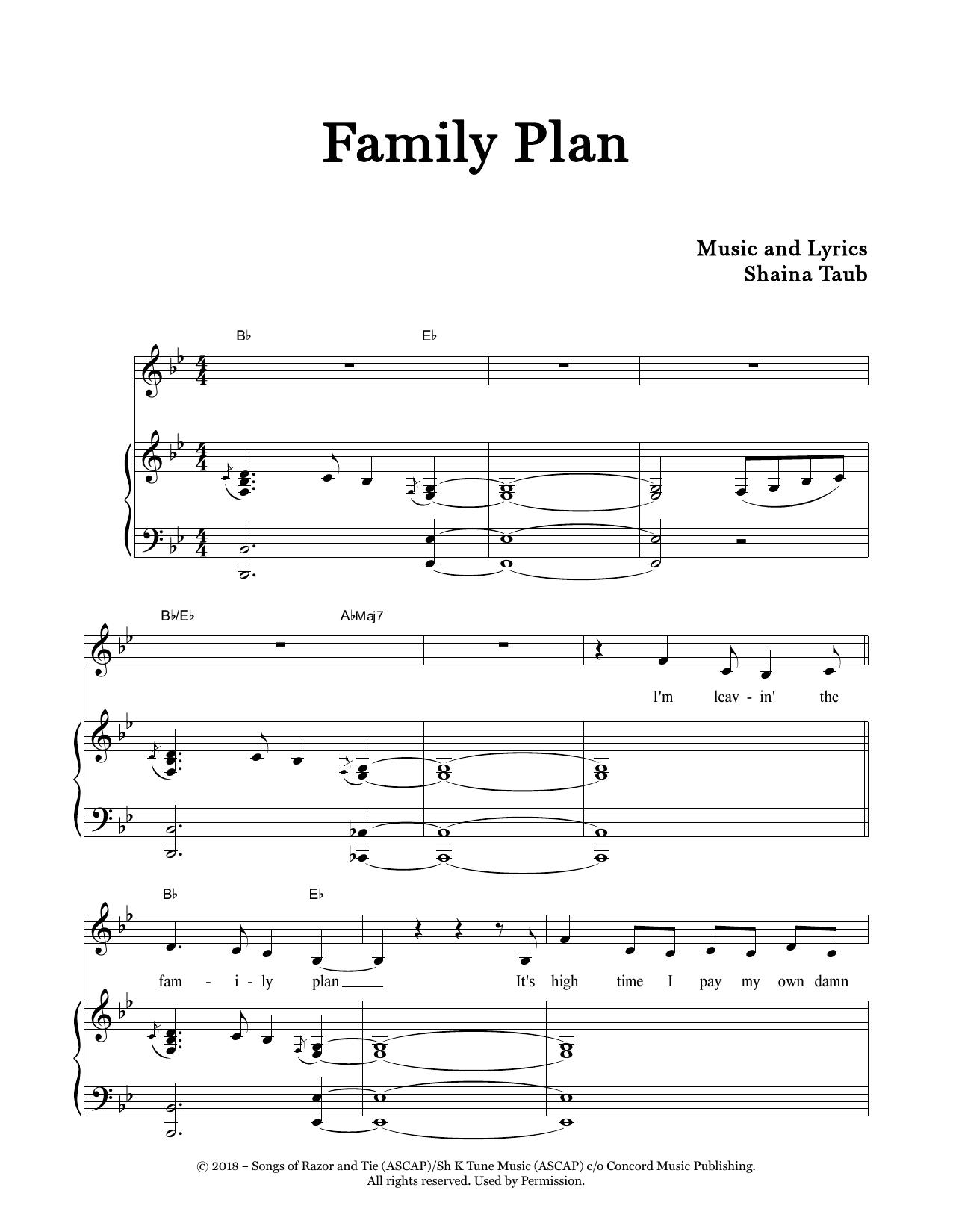 Family Plan Sheet Music