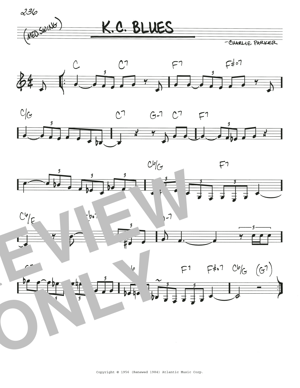 k.c. blues sheet music   charlie parker   real book – melody & chords  sheet music direct