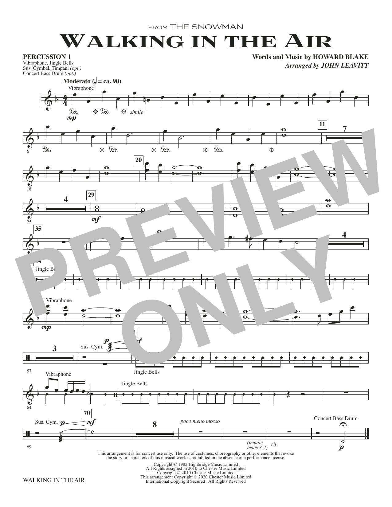 Walking In The Air (from The Snowman) (arr. John Leavitt) - Percussion 1 Sheet Music