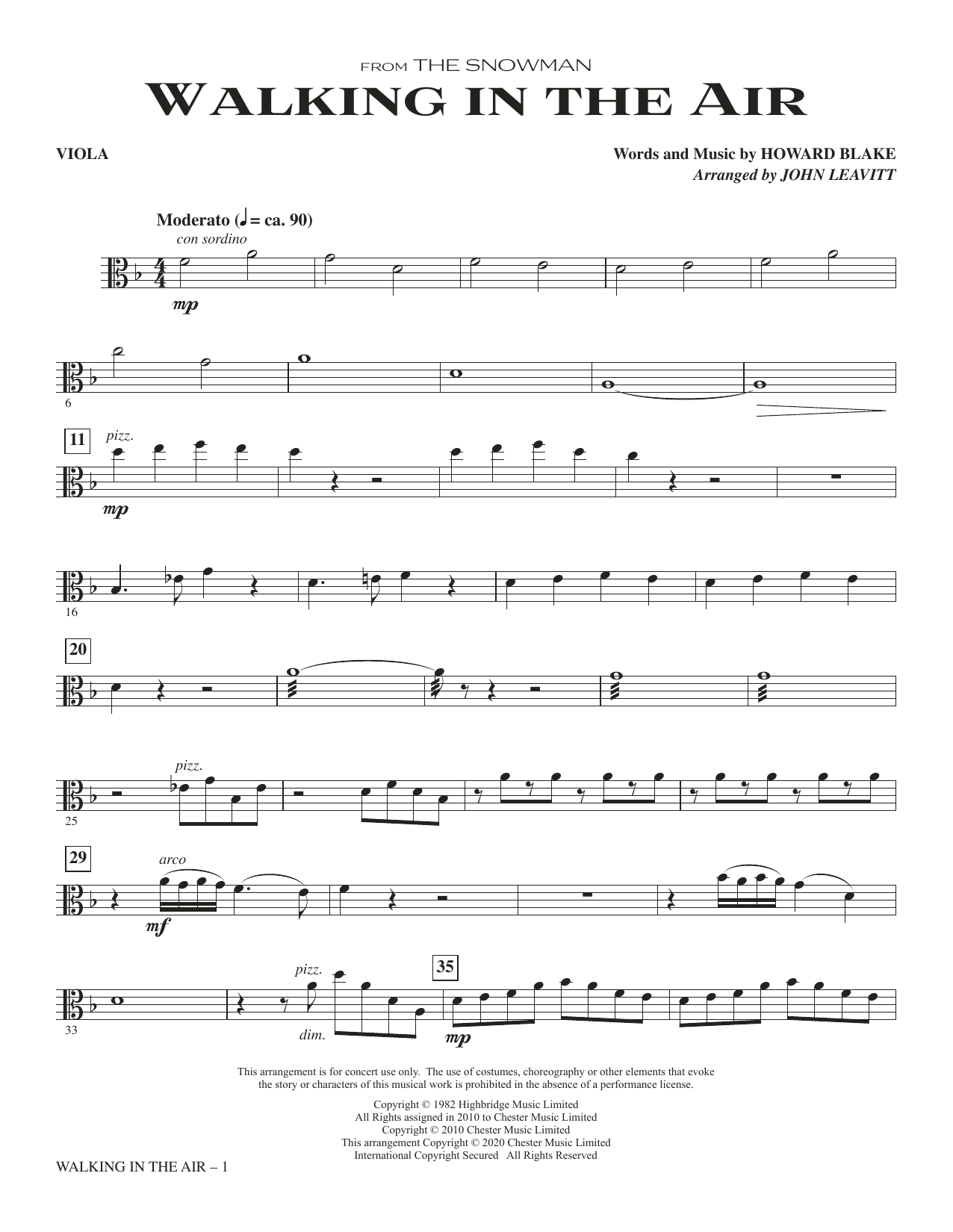 Walking In The Air (from The Snowman) (arr. John Leavitt) - Viola Sheet Music