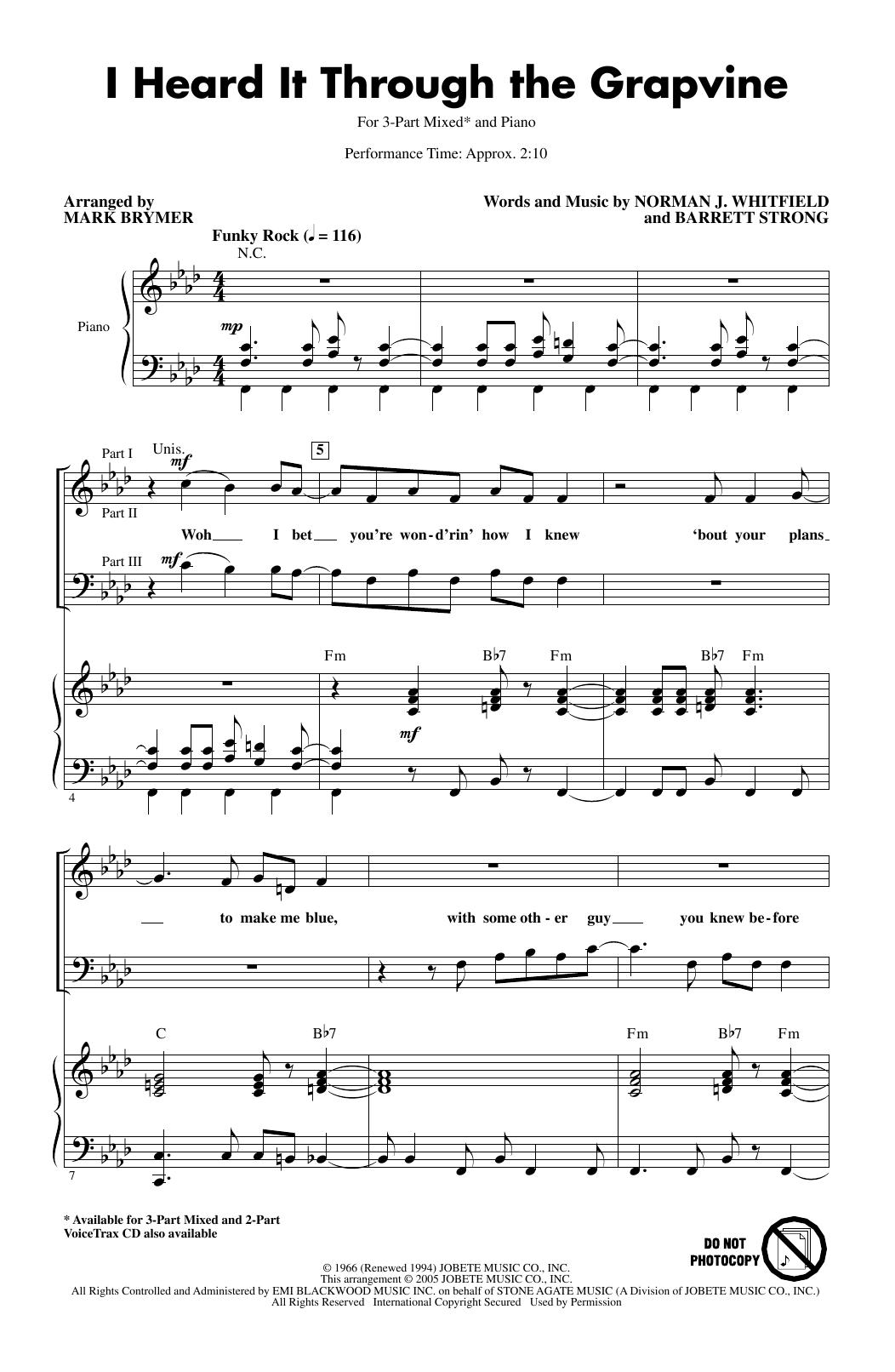 I Heard It Through The Grapevine (arr. Mark Brymer) (3-Part Mixed Choir)