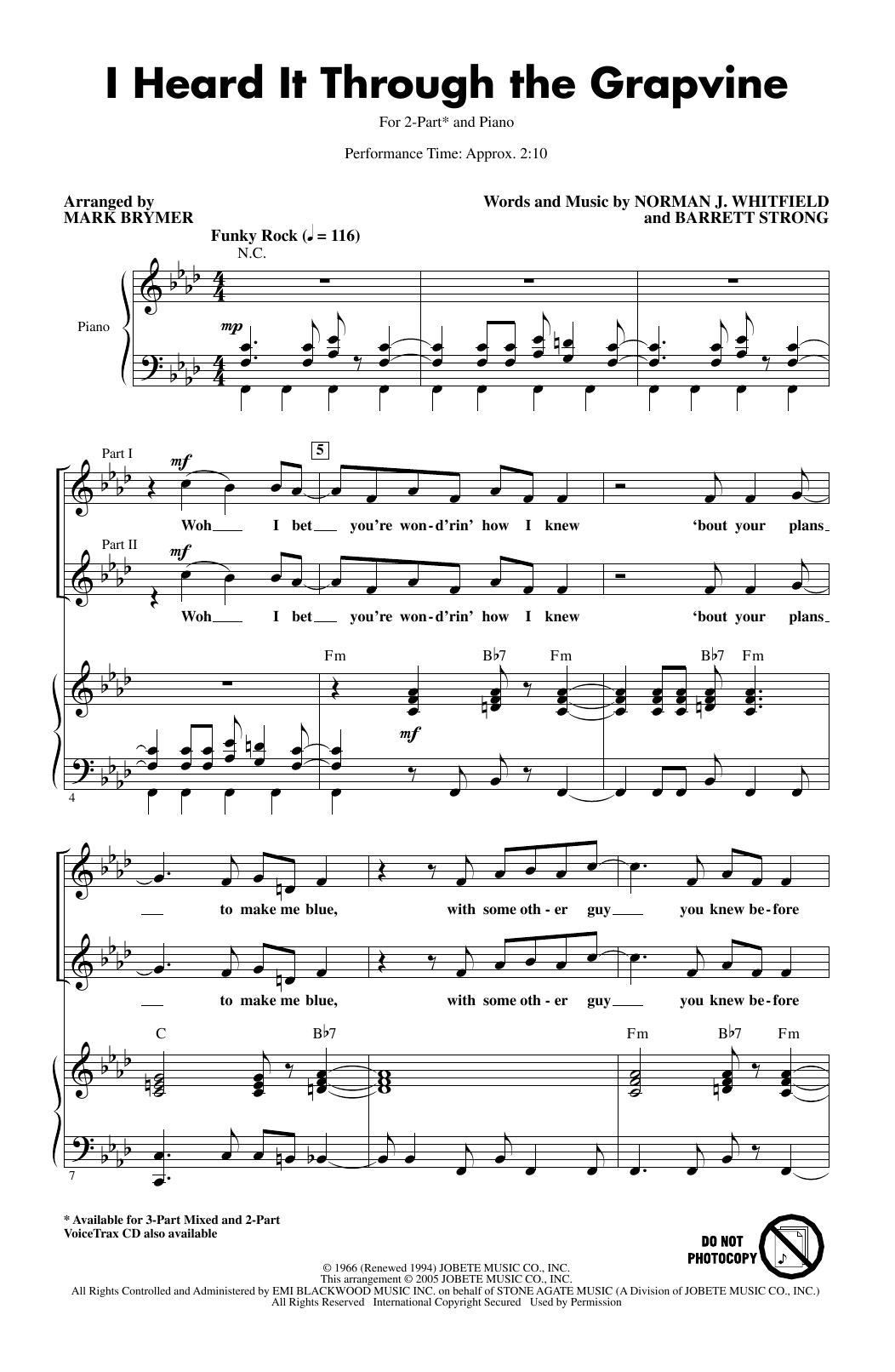 I Heard It Through The Grapevine (arr. Mark Brymer) (2-Part Choir)