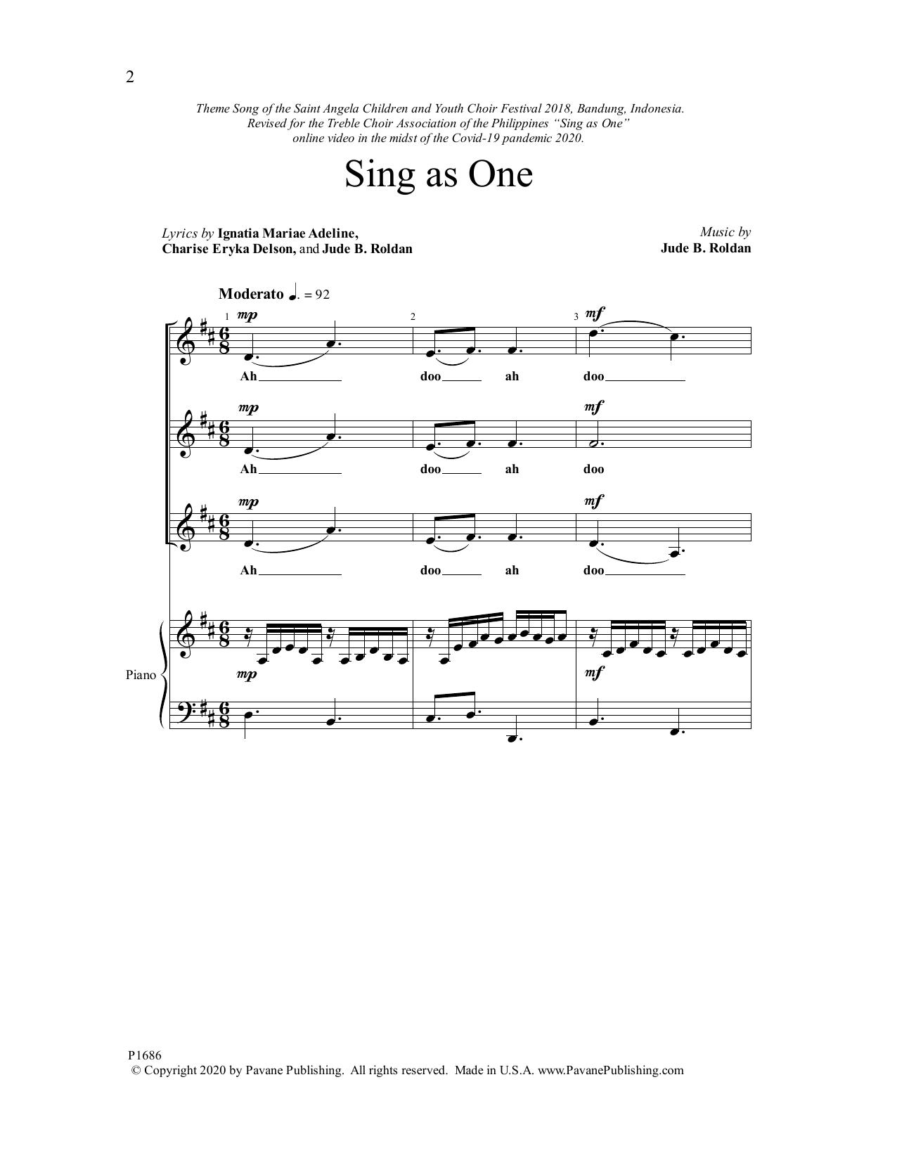 Sing as One Sheet Music