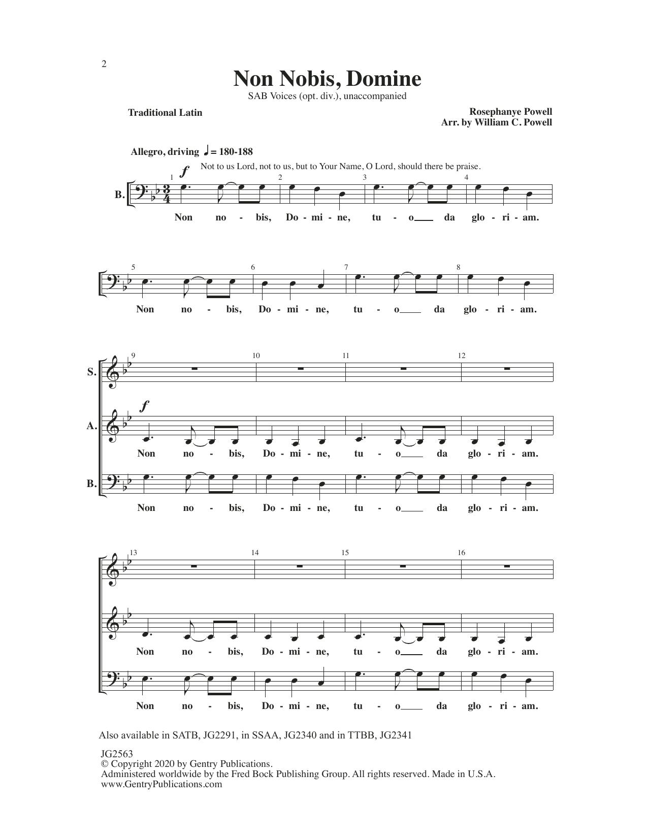 Non Nobis, Domine (arr. William C. Powell) Sheet Music