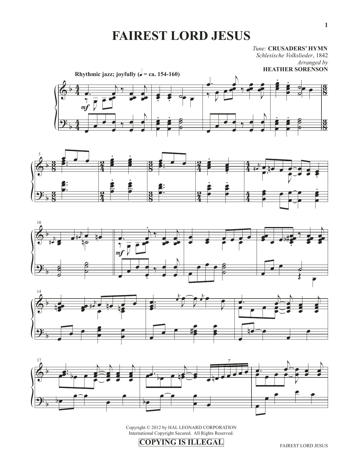 Fairest Lord Jesus (from Images: Sacred Piano Reflections) Sheet Music