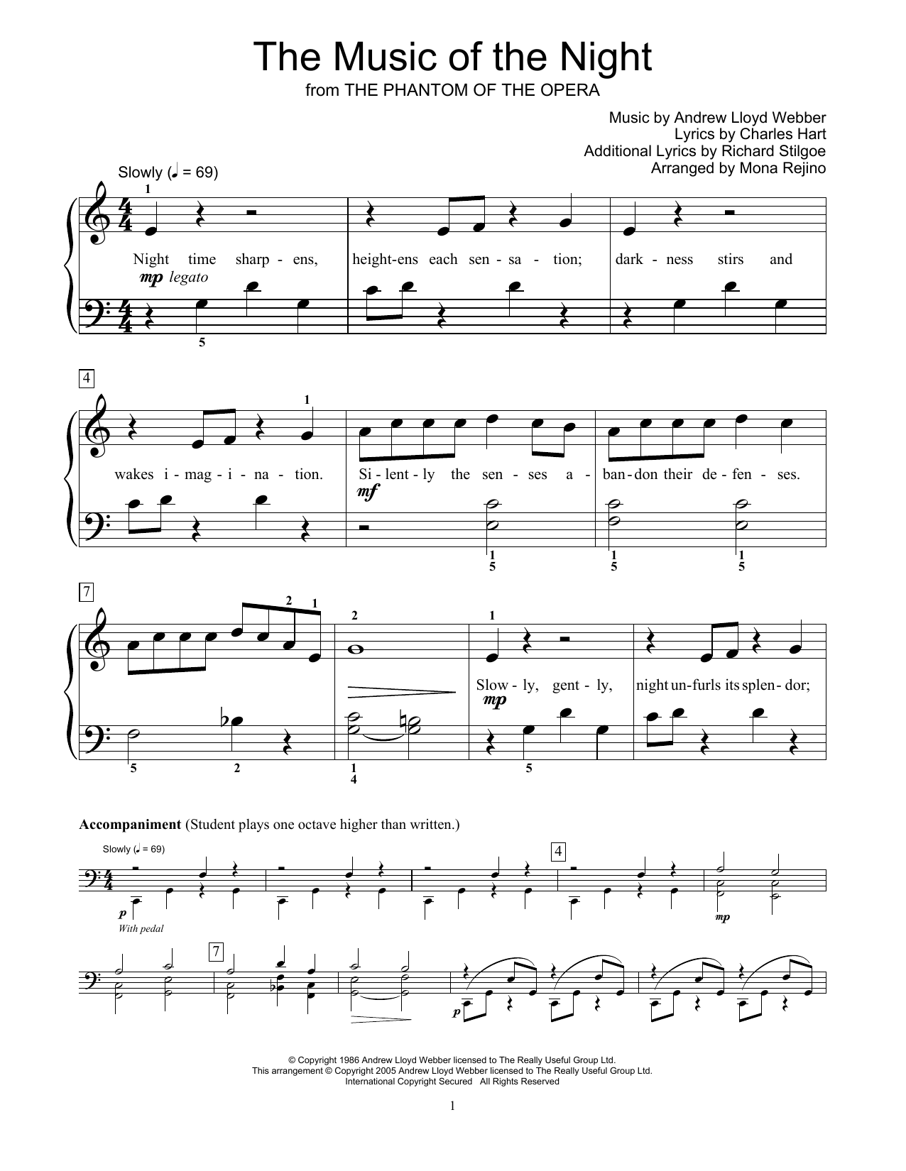 The Music Of The Night (from The Phantom Of The Opera) (arr. Mona Rejino) (Educational Piano)
