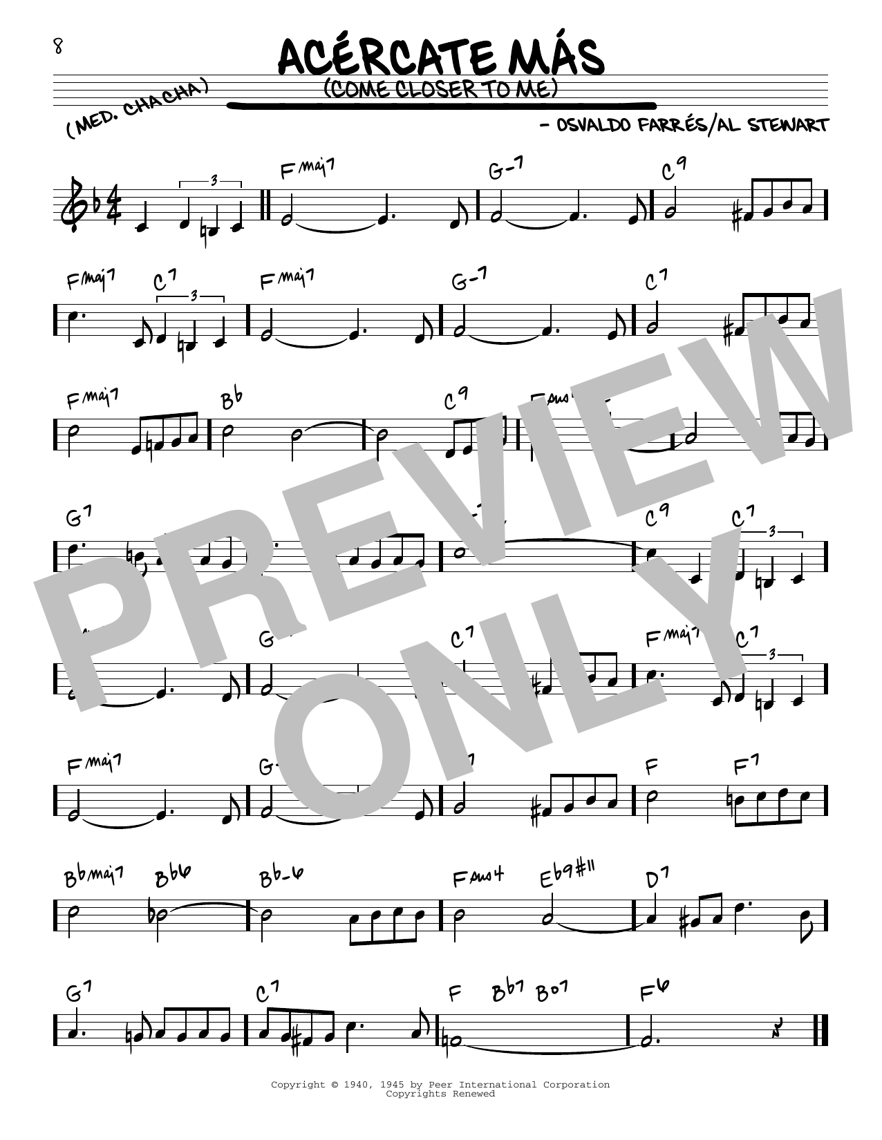 Acercate Más (Come Closer To Me) Sheet Music