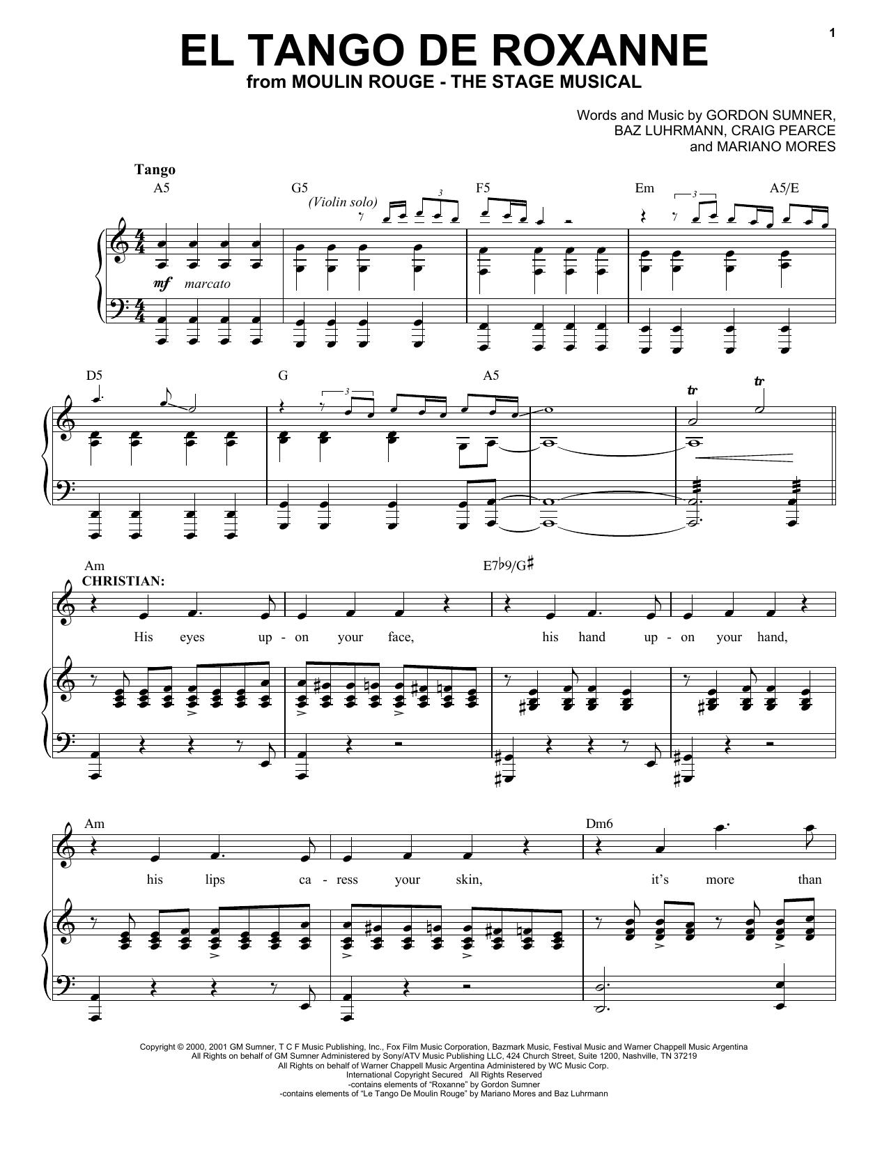 Partition piano El Tango De Roxanne (from Moulin Rouge! The Musical) de Moulin Rouge! The Musical Cast - Piano Voix