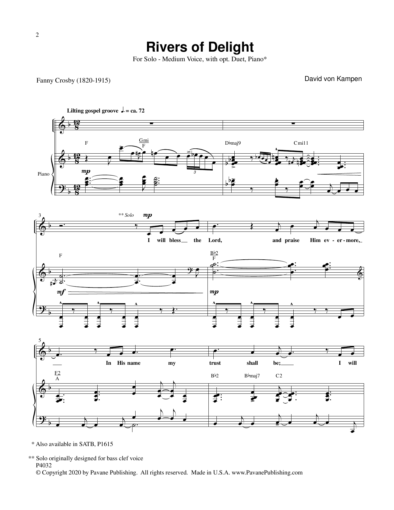 Rivers Of Delight Sheet Music