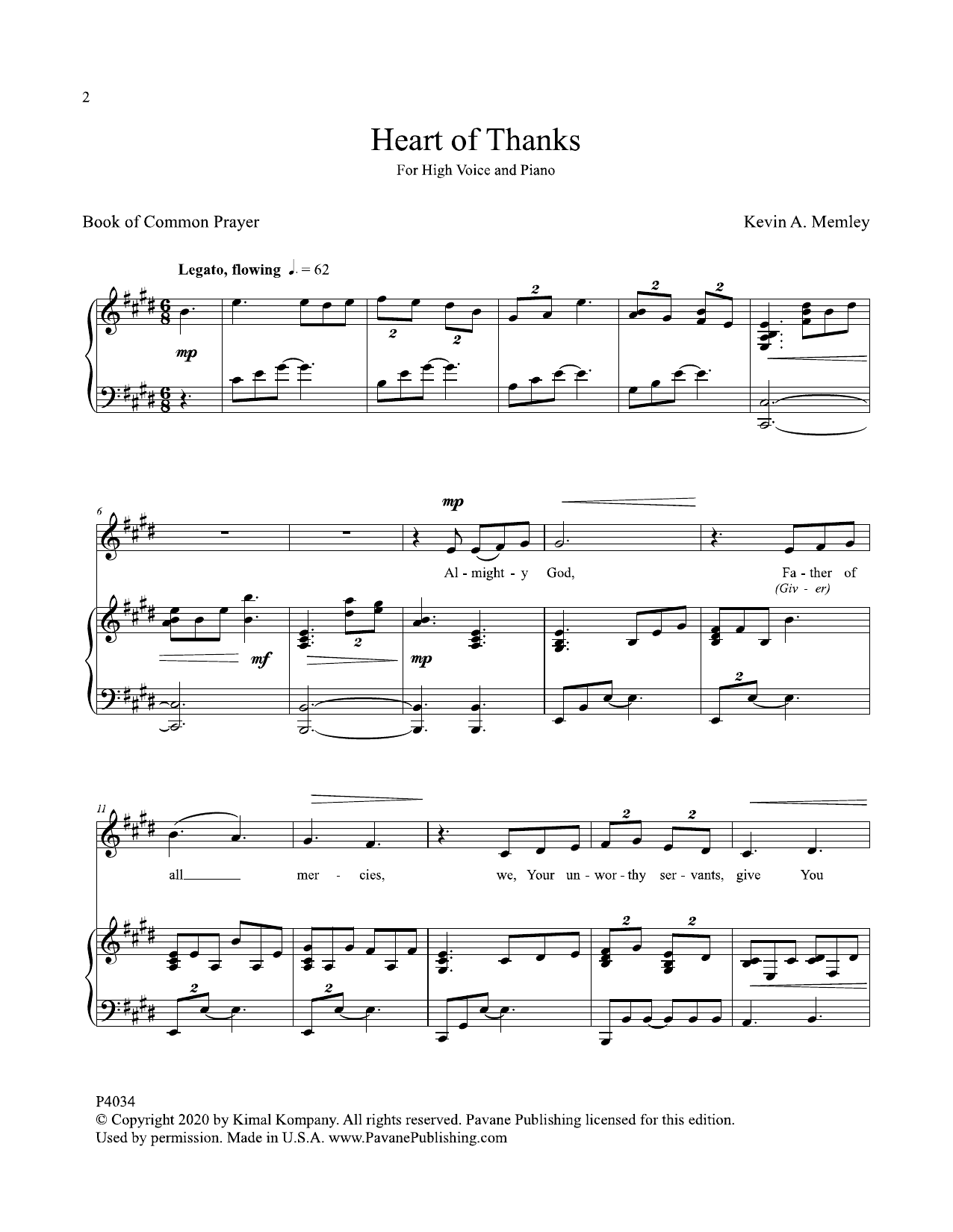 Heart Of Thanks Sheet Music