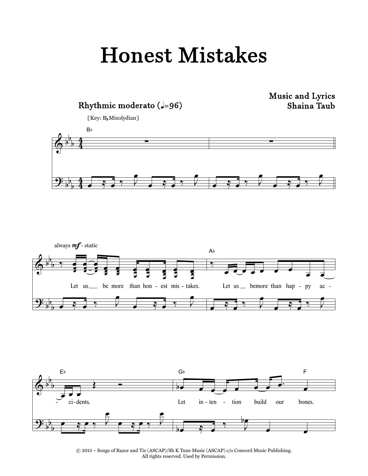 Honest Mistakes Sheet Music