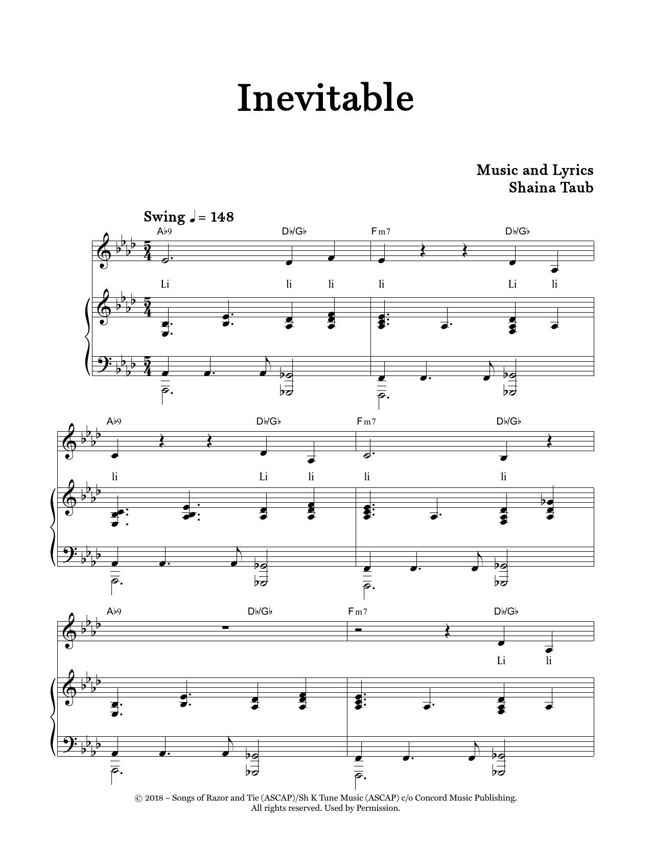 Inevitable Sheet Music
