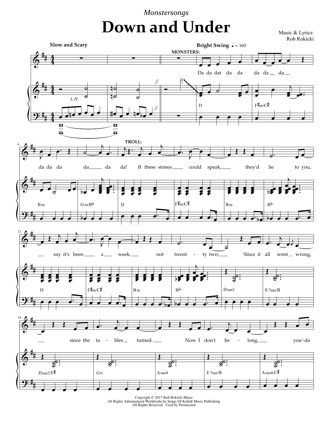 Down And Under (from Monstersongs) Sheet Music