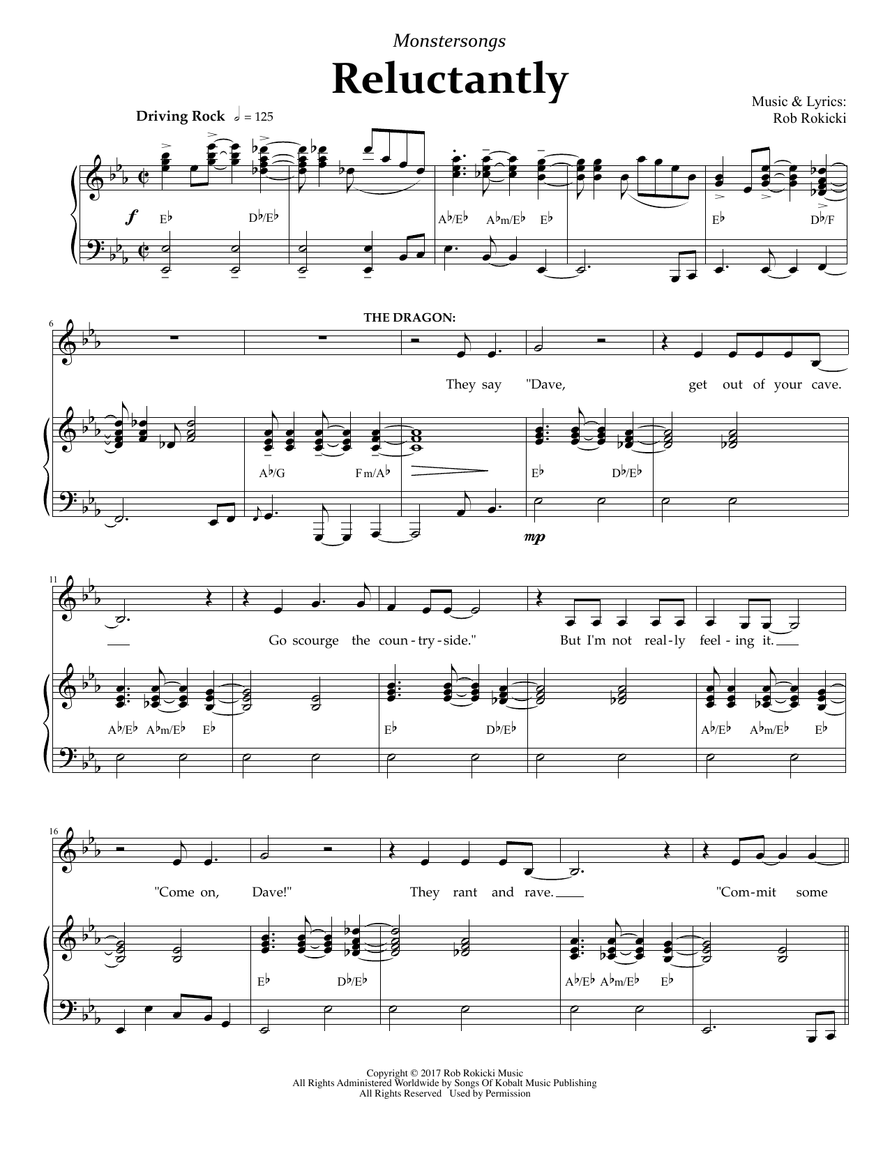 Reluctantly (from Monstersongs) Sheet Music