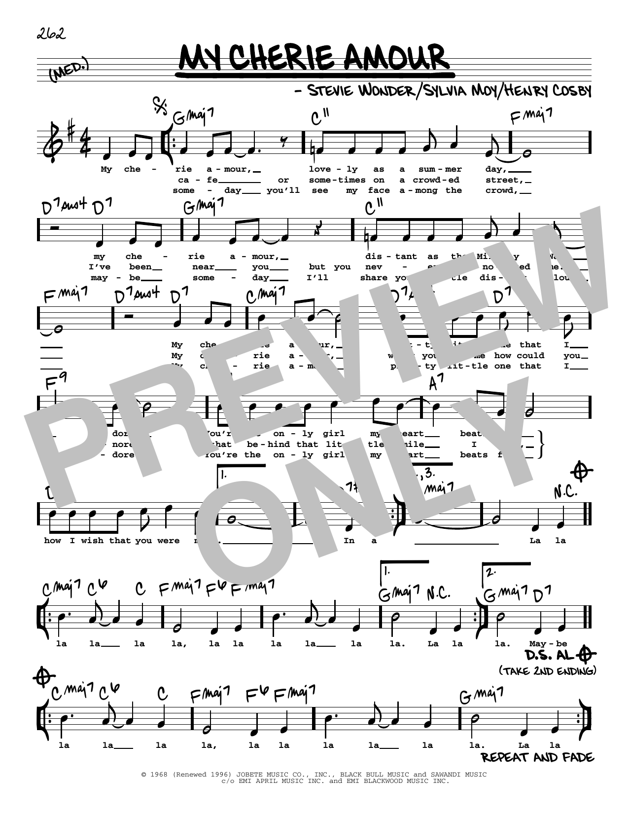 My Cherie Amour (High Voice) Sheet Music