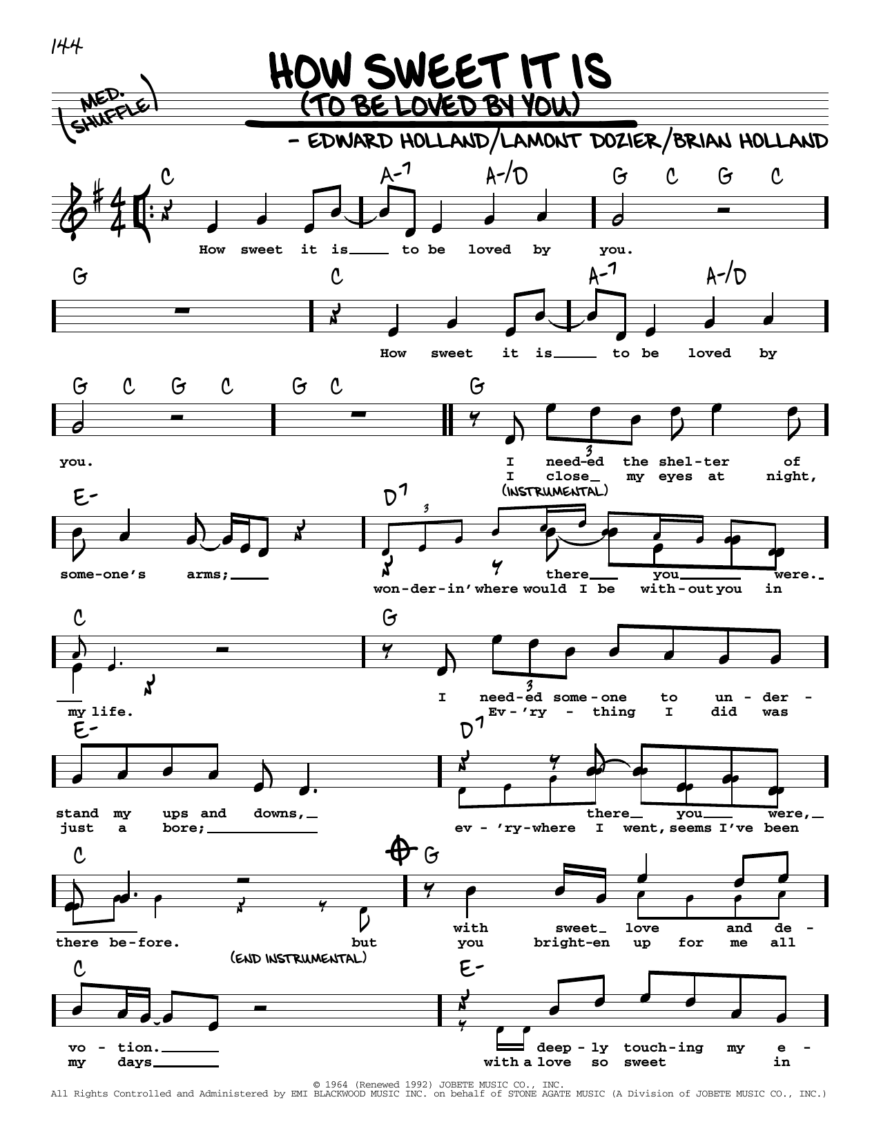 How Sweet It Is To Be Loved By You High Voice Sheet Music   Marvin Gaye    Real Book – Melody, Lyrics & Chords