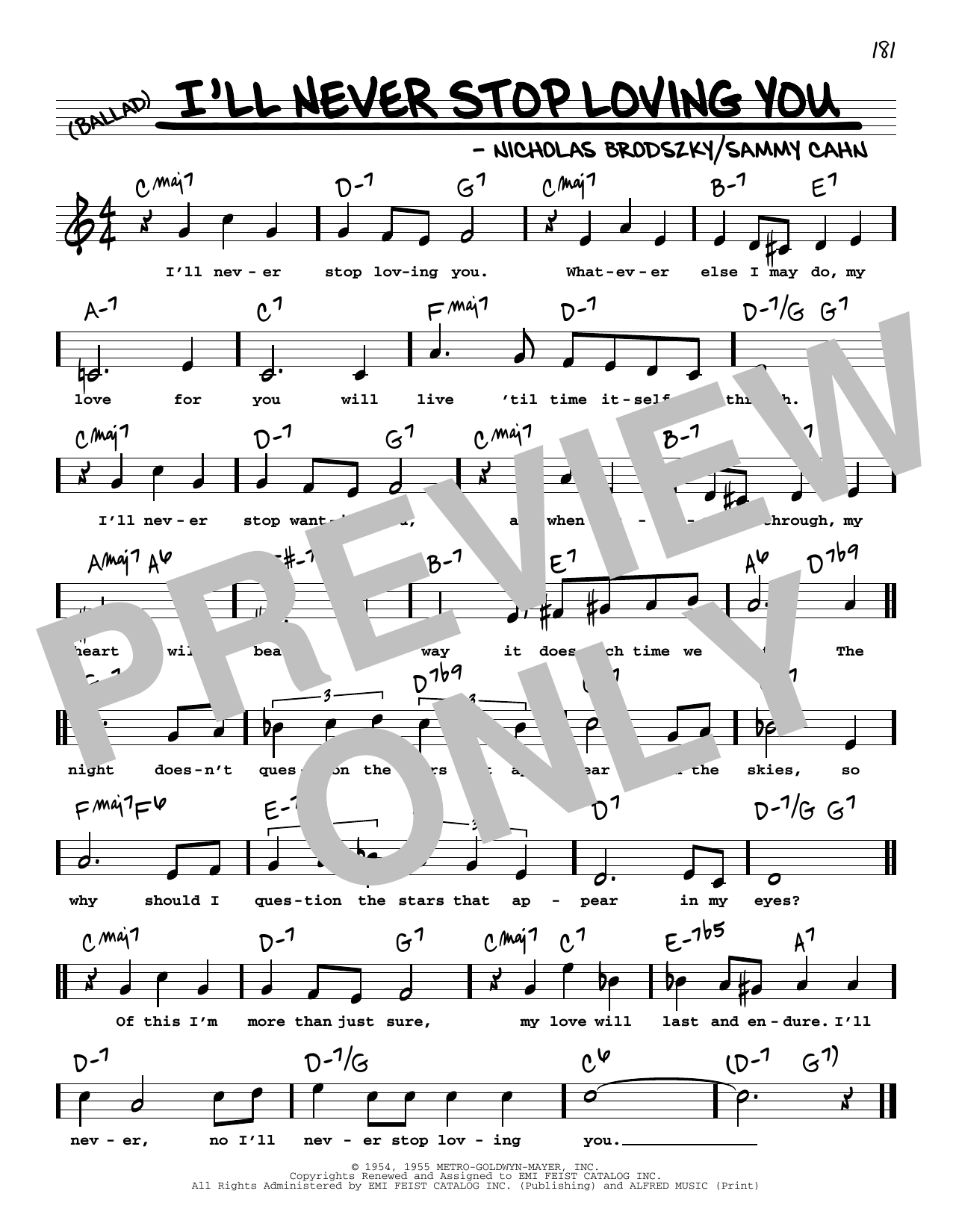 I'll Never Stop Loving You (High Voice) Sheet Music
