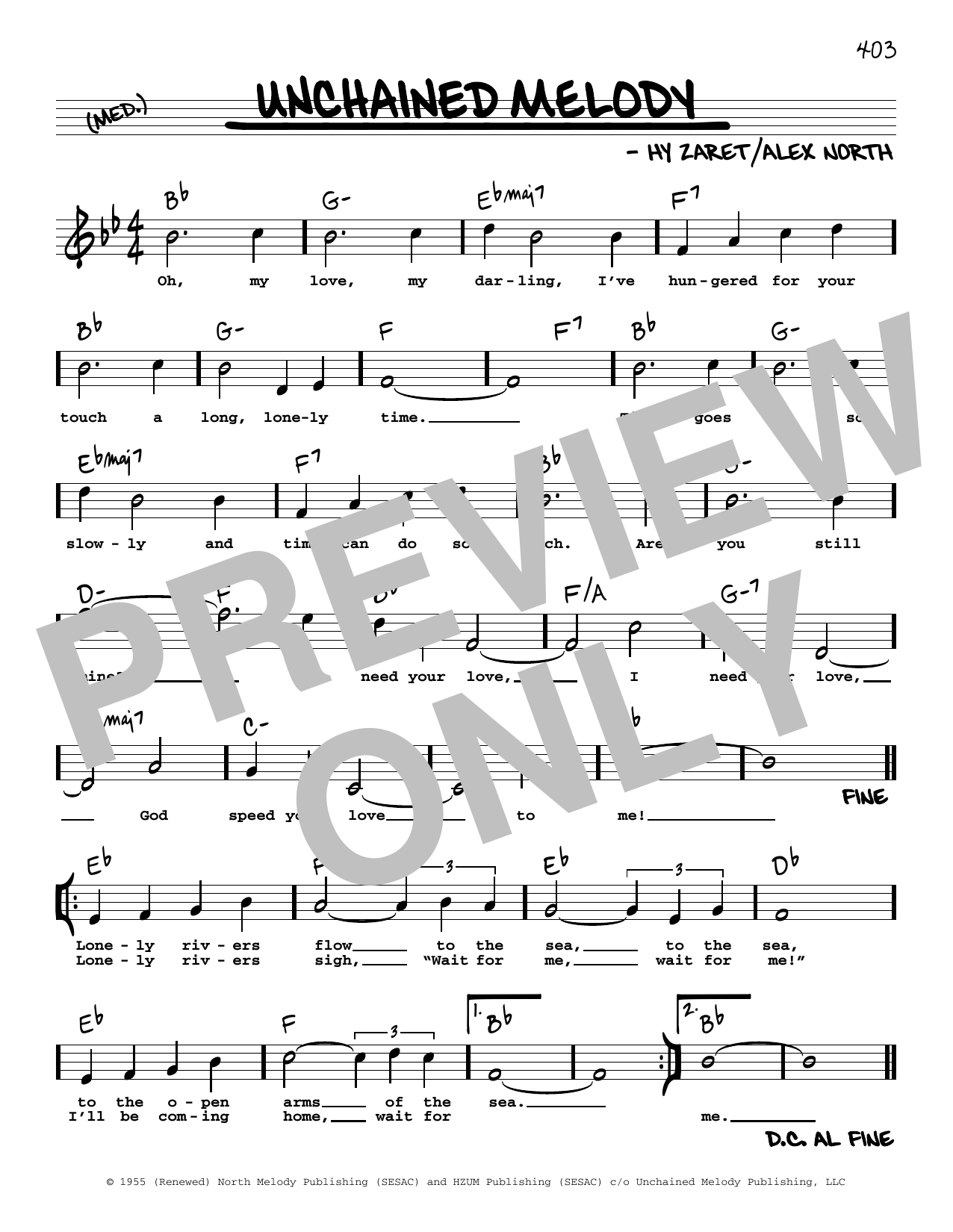 Unchained Melody (High Voice) Sheet Music
