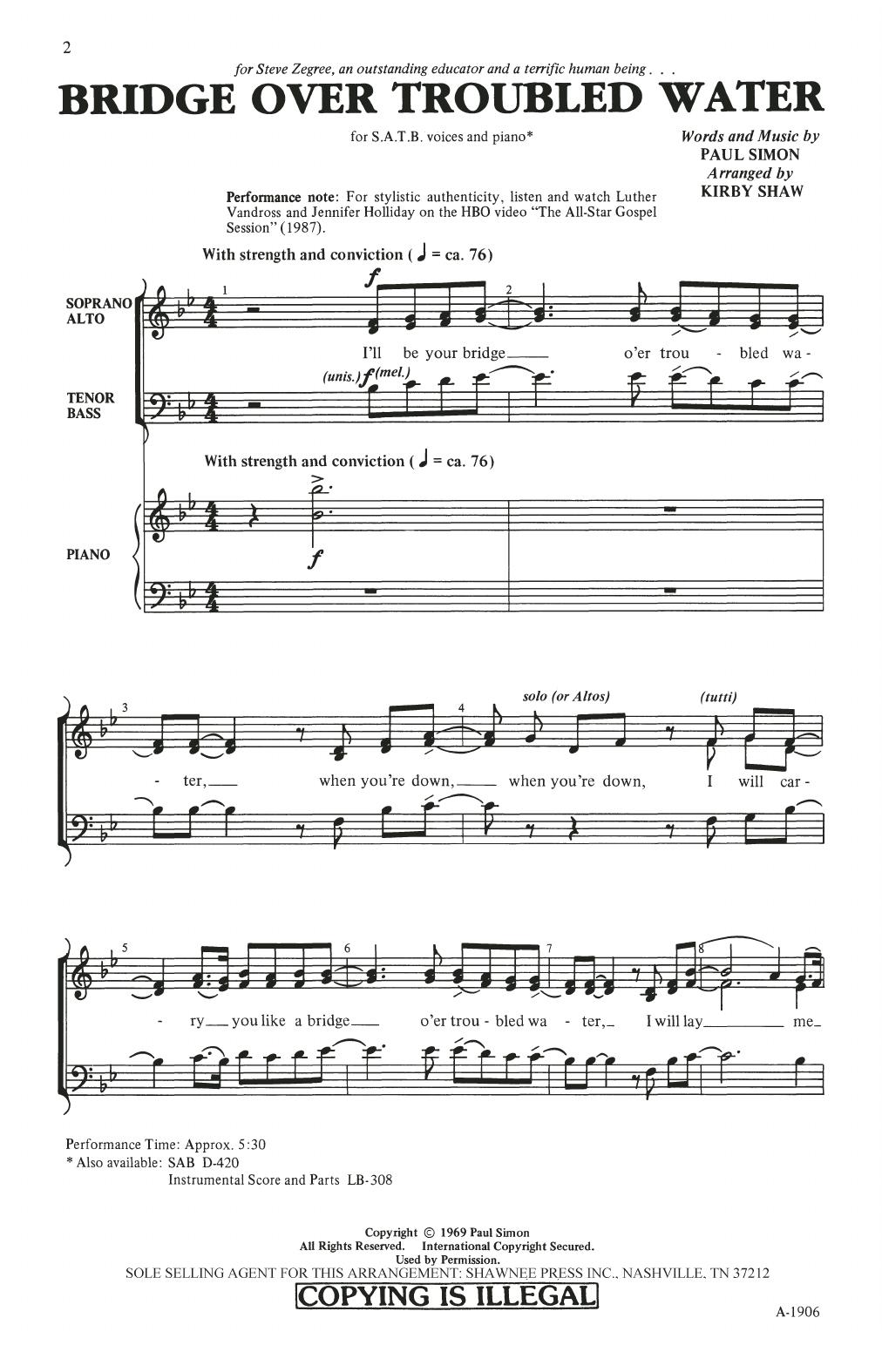 Partition chorale Bridge Over Troubled Water (arr. Kirby Shaw) de Simon & Garfunkel - SATB
