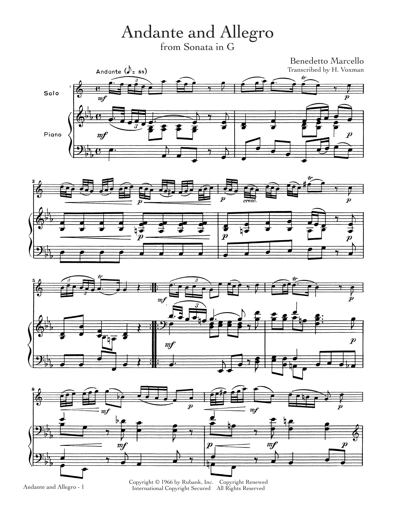 Andante And Allegro Sheet Music