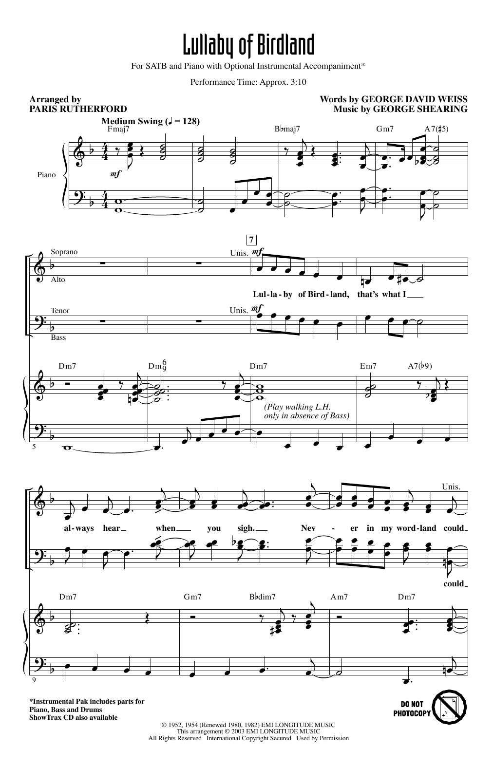 Partition chorale Lullaby Of Birdland (arr. Paris Rutherford) de George David Weiss and George Shearing - SATB