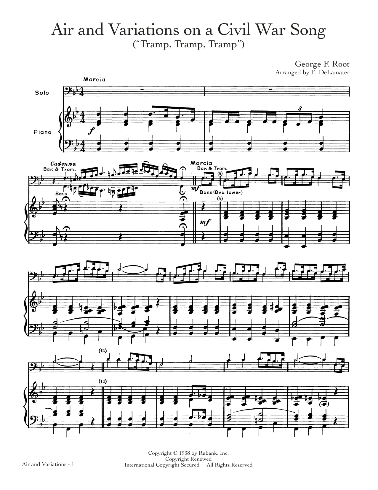 "Air And Variation On A Civil War Song (""Tramp, Tramp, Tramp"") Sheet Music"