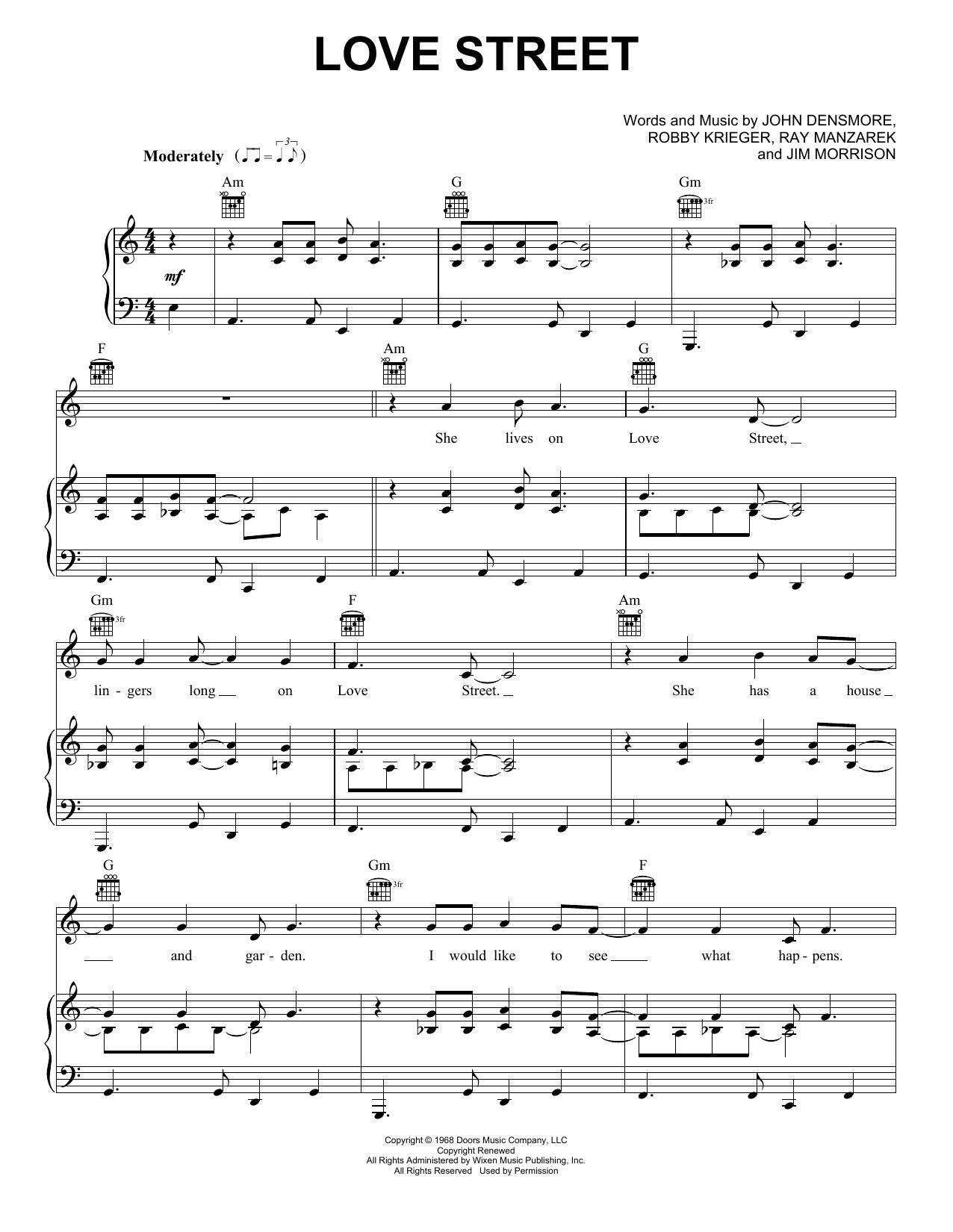 Partition piano Love Street de The Doors - Piano Voix Guitare (Mélodie Main Droite)