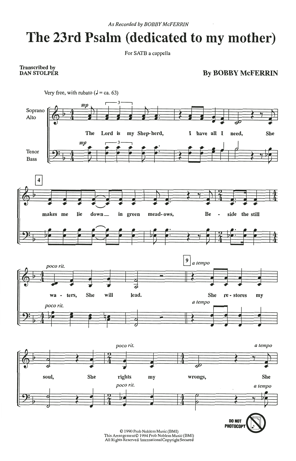 Partition chorale The 23rd Psalm (Dedicated To My Mother) de Bobby McFerrin - SATB