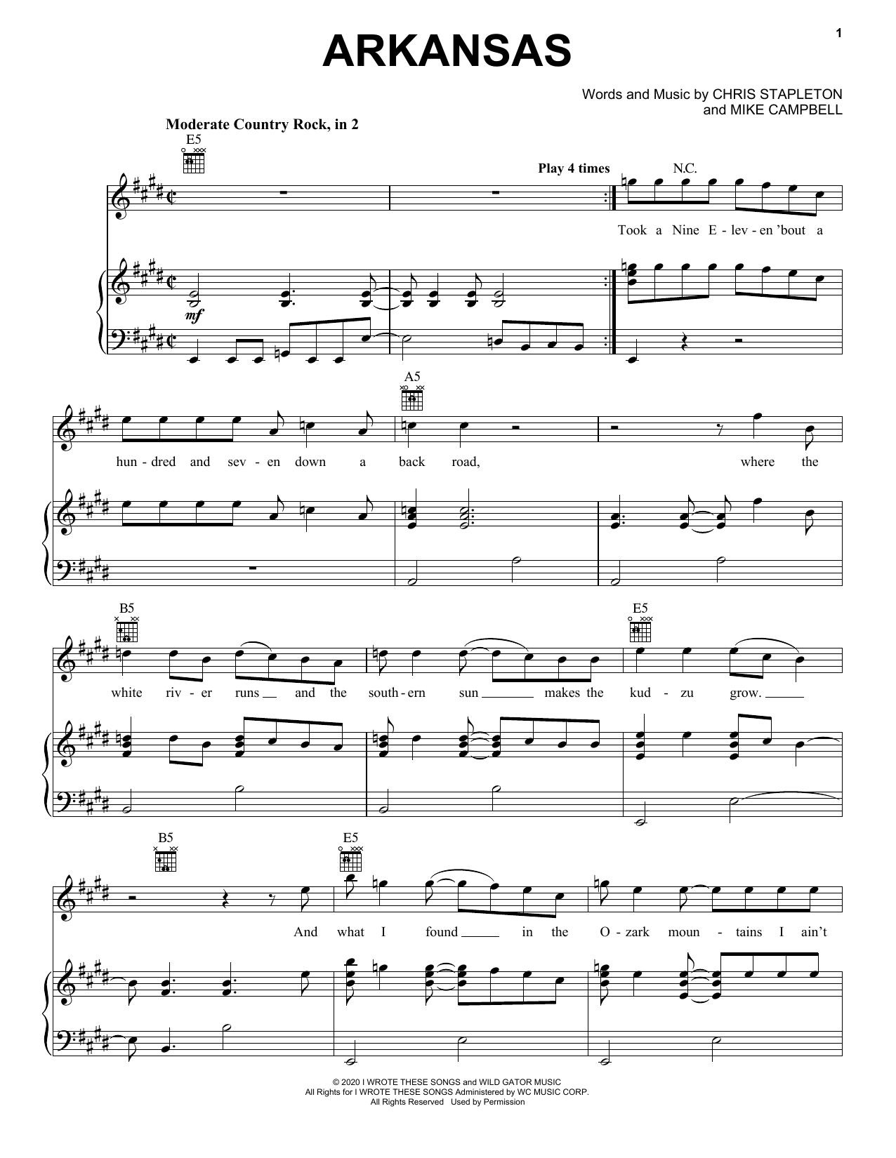 Partition piano Arkansas de Chris Stapleton - Piano Voix Guitare (Mélodie Main Droite)