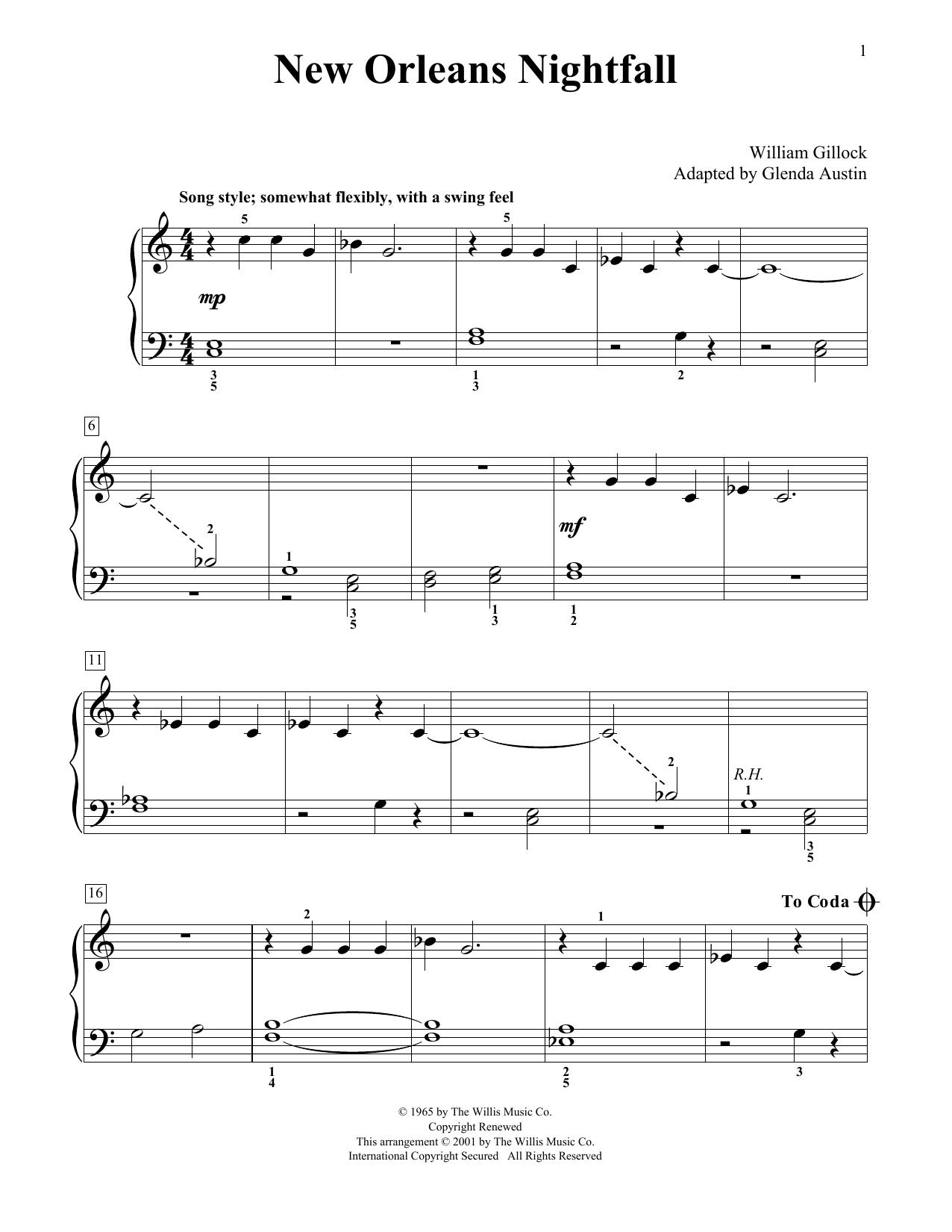 New Orleans Nightfall (Simplified) (adapted by Glenda Austin) Sheet Music