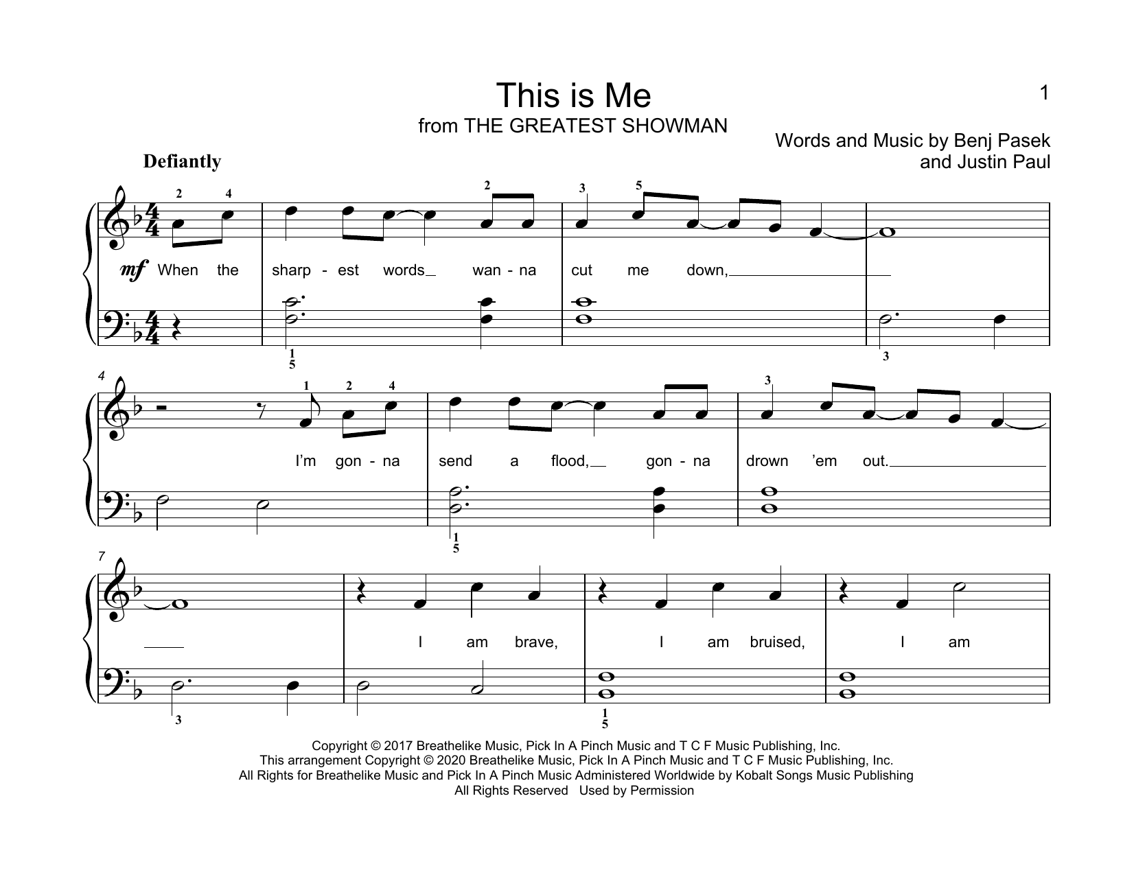This Is Me (from The Greatest Showman) (arr. Christopher Hussey) Sheet Music