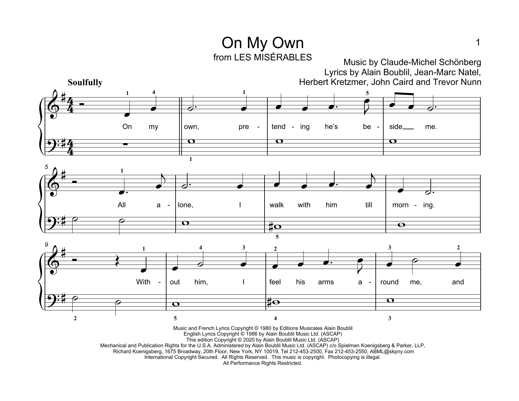 On My Own (from Les Miserables) (arr. Christopher Hussey) Sheet Music