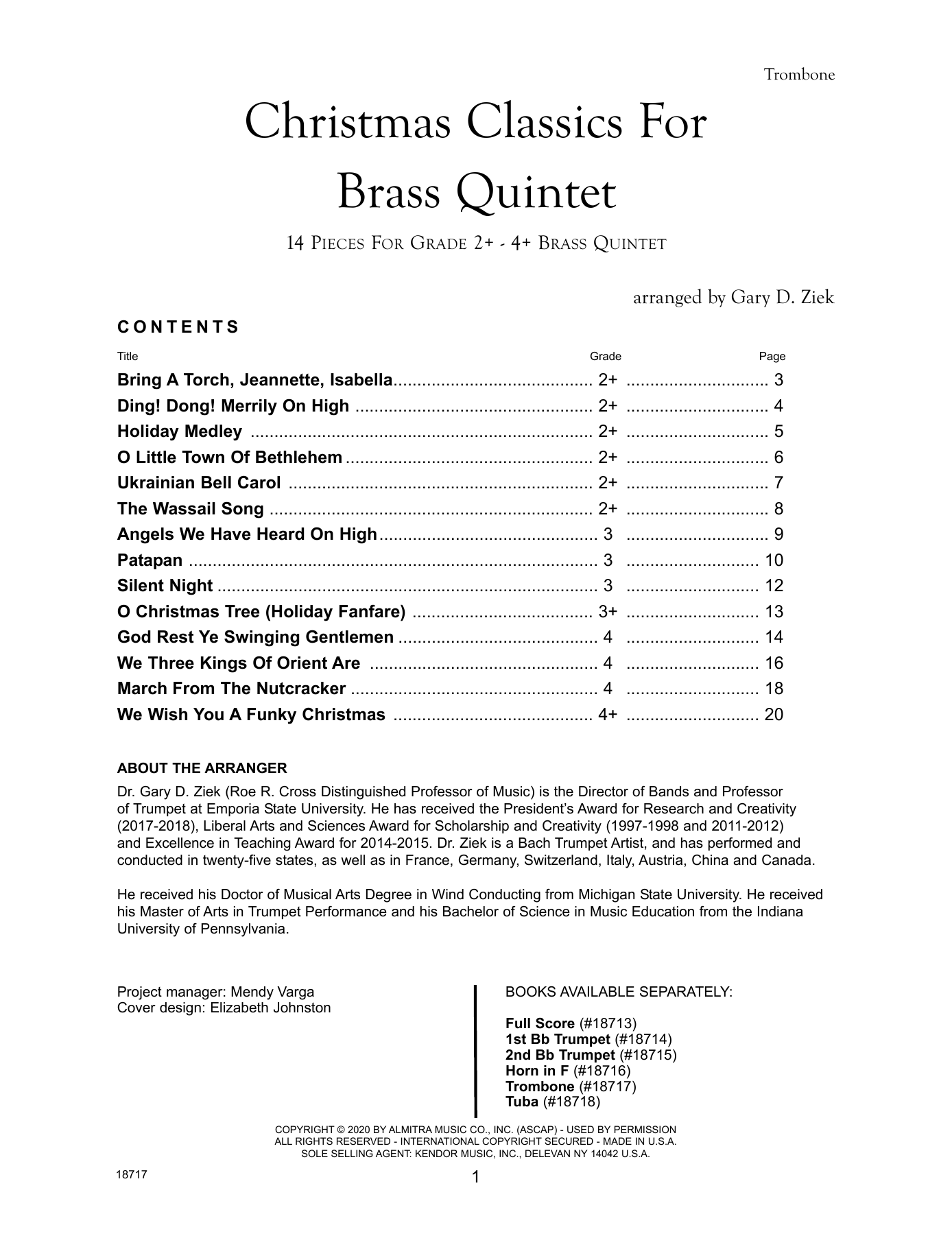 Christmas Classics For Brass Quintet - Trombone Sheet Music