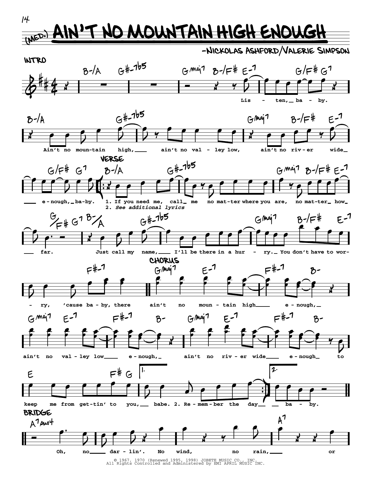 Ain't No Mountain High Enough Sheet Music   Marvin Gaye & Tammi Terrell    Real Book – Melody & Chords