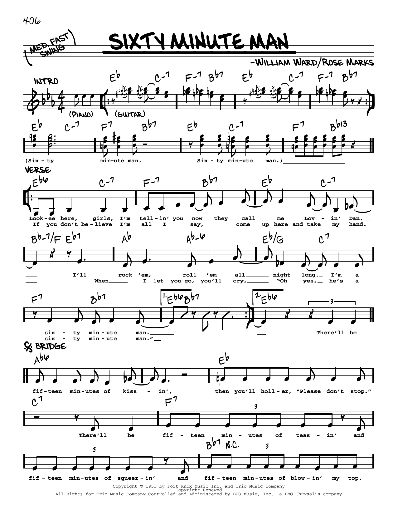 Sixty Minute Man Sheet Music
