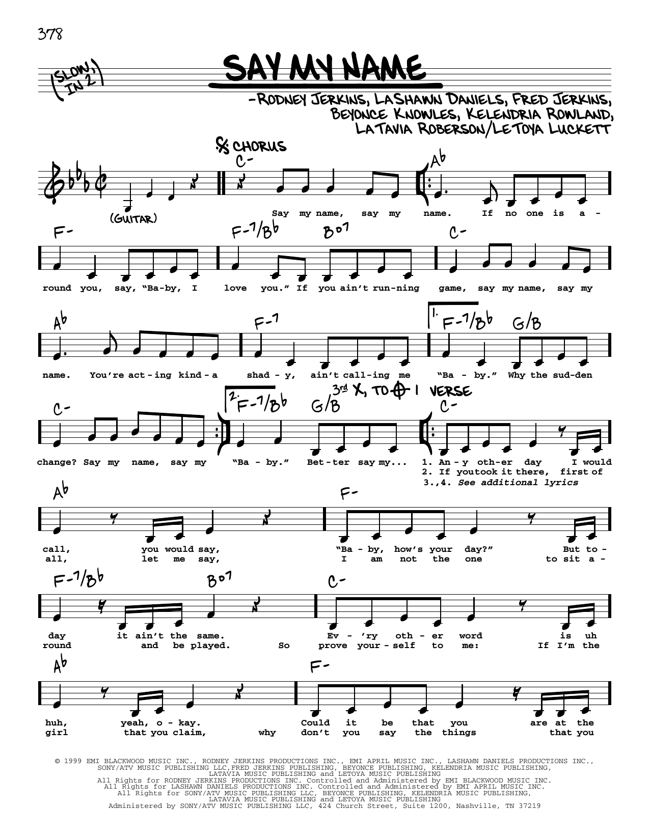 Say My Name Sheet Music   Destiny's Child   Real Book – Melody & Chords