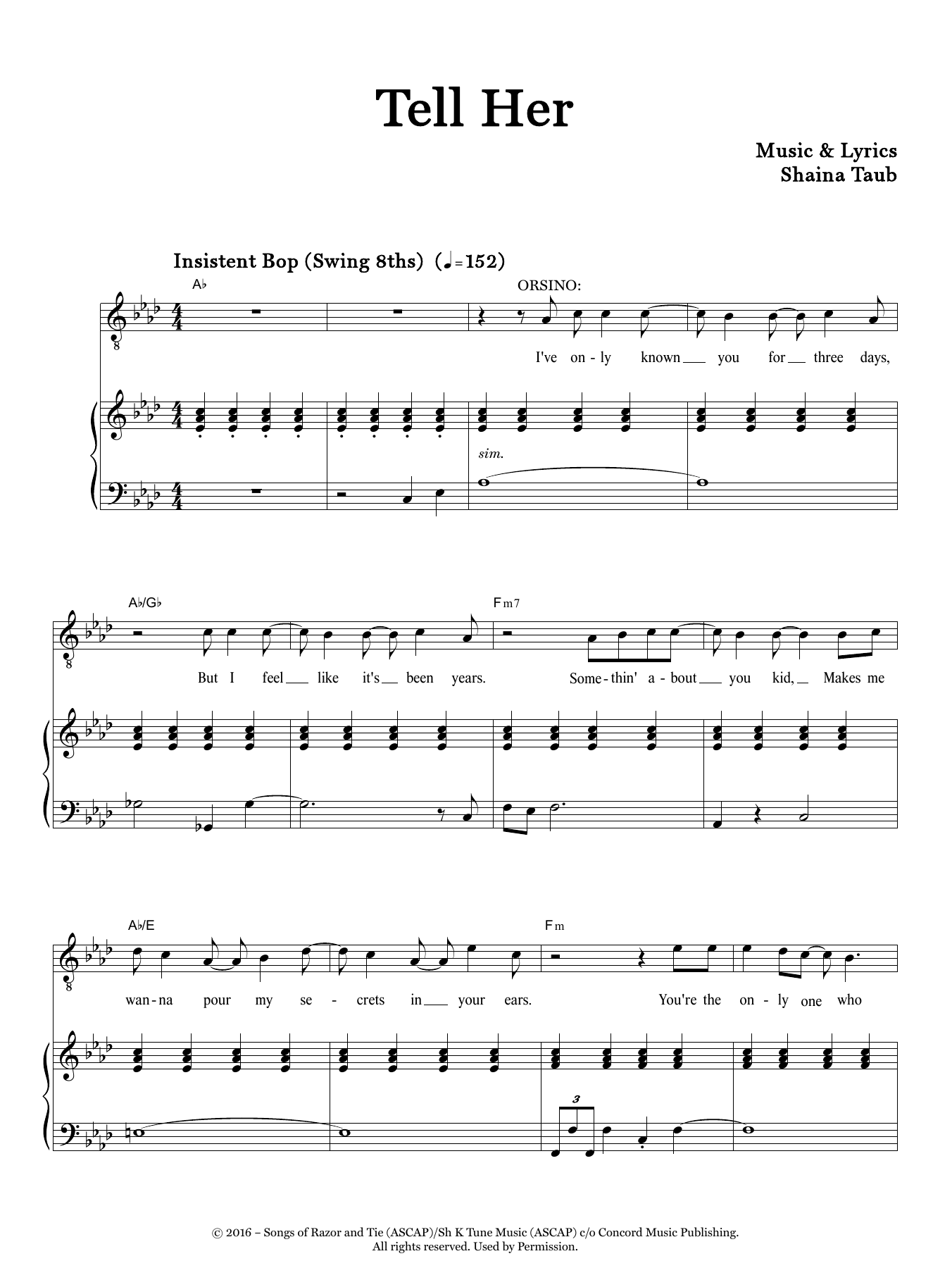 Tell Her (from Twelfth Night) Sheet Music