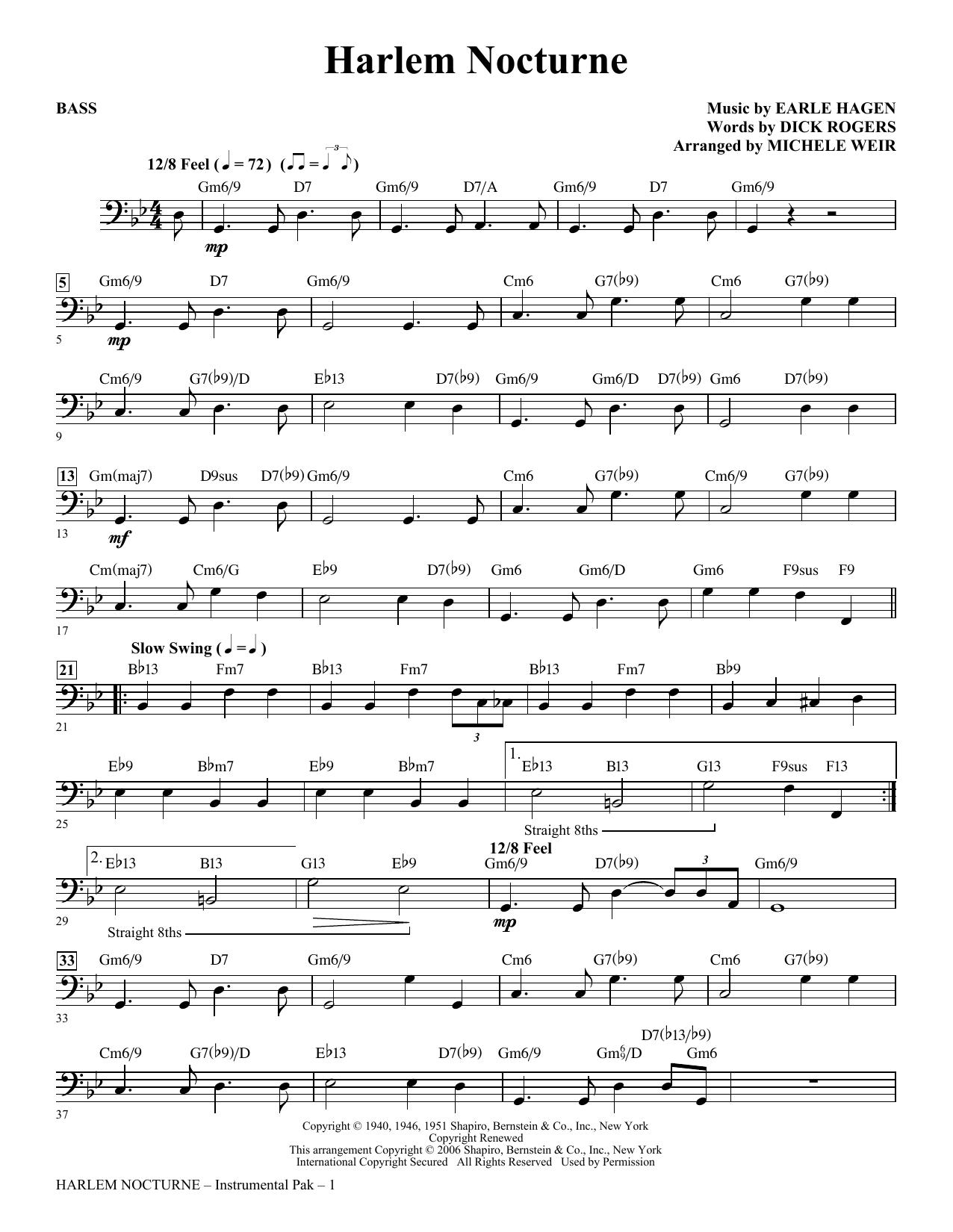 Harlem Nocturne (arr. Michele Weir) - Bass Partition Digitale