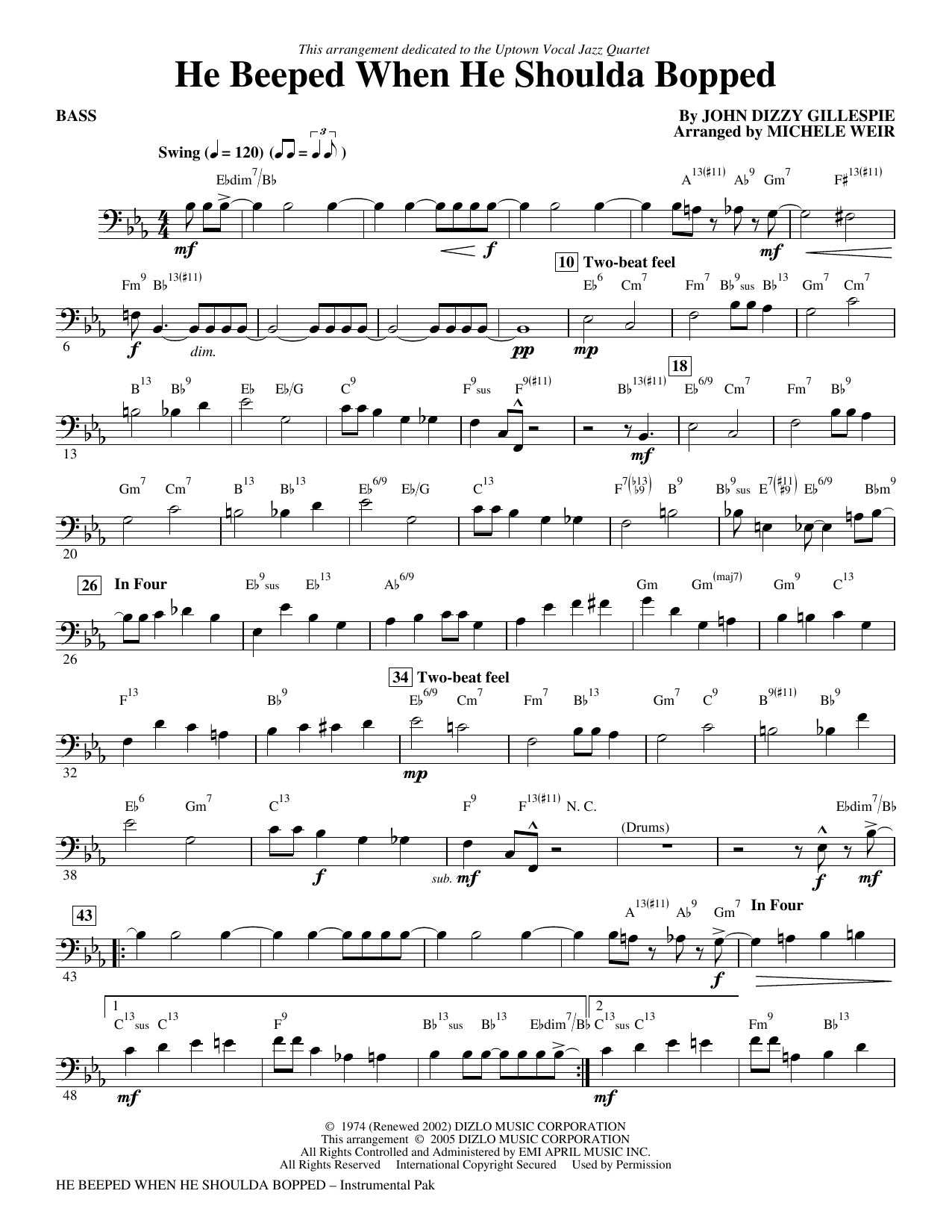 He Beeped When He Shoulda Bopped (arr. Michele Weir) - Bass Sheet Music