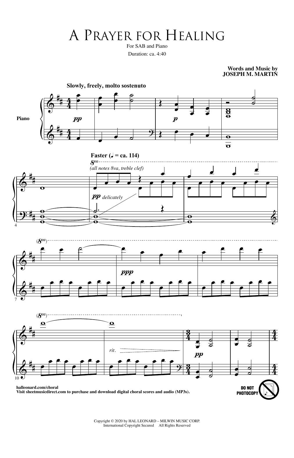 A Prayer For Healing Sheet Music
