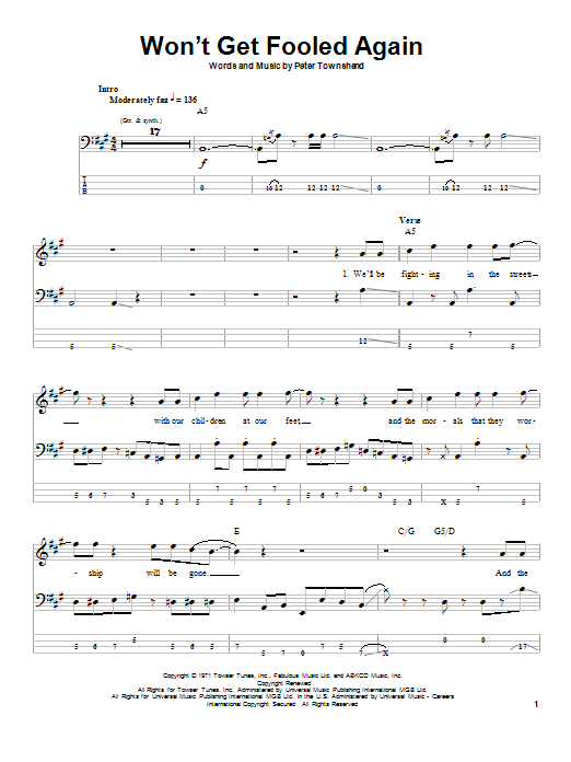Won't Get Fooled Again (Bass Guitar Tab)
