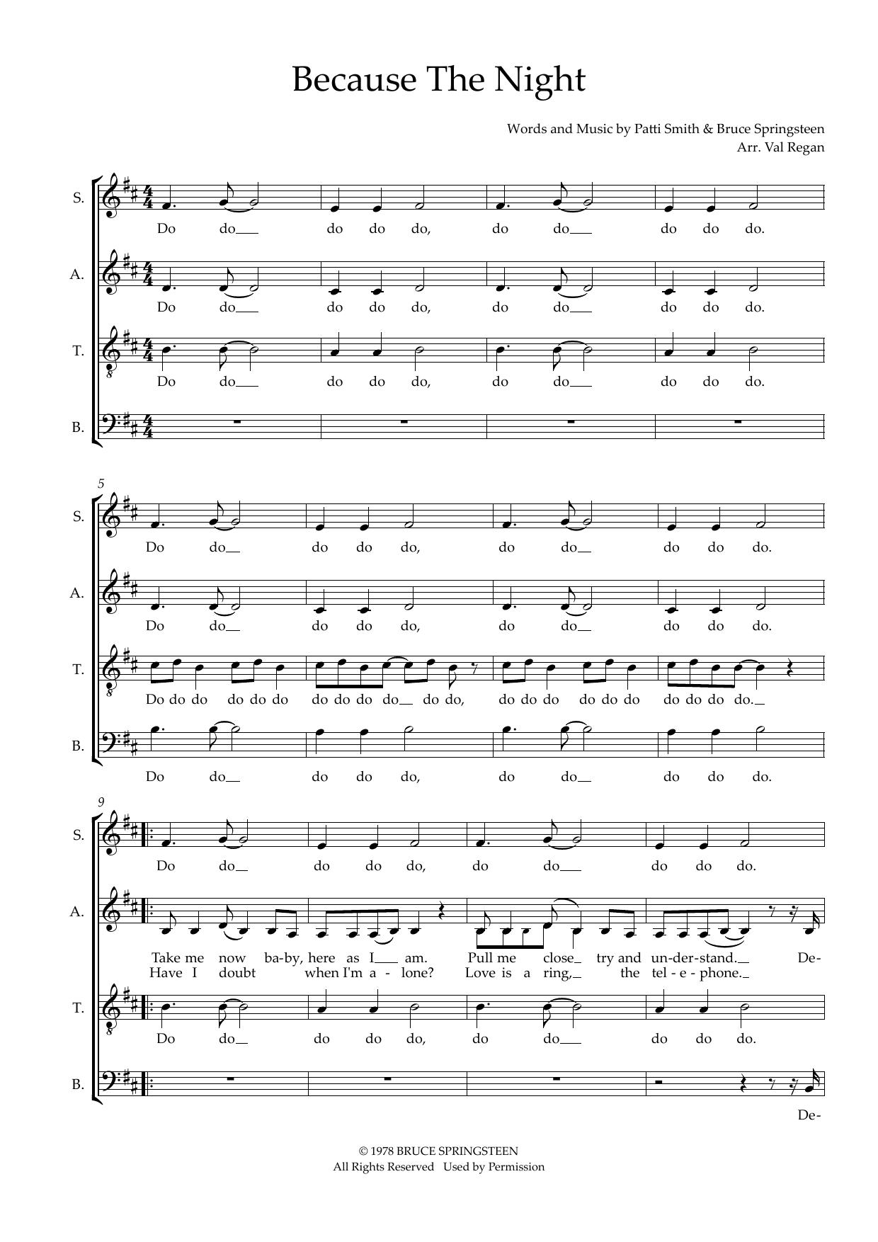 Because The Night (arr. Val Regan) Sheet Music