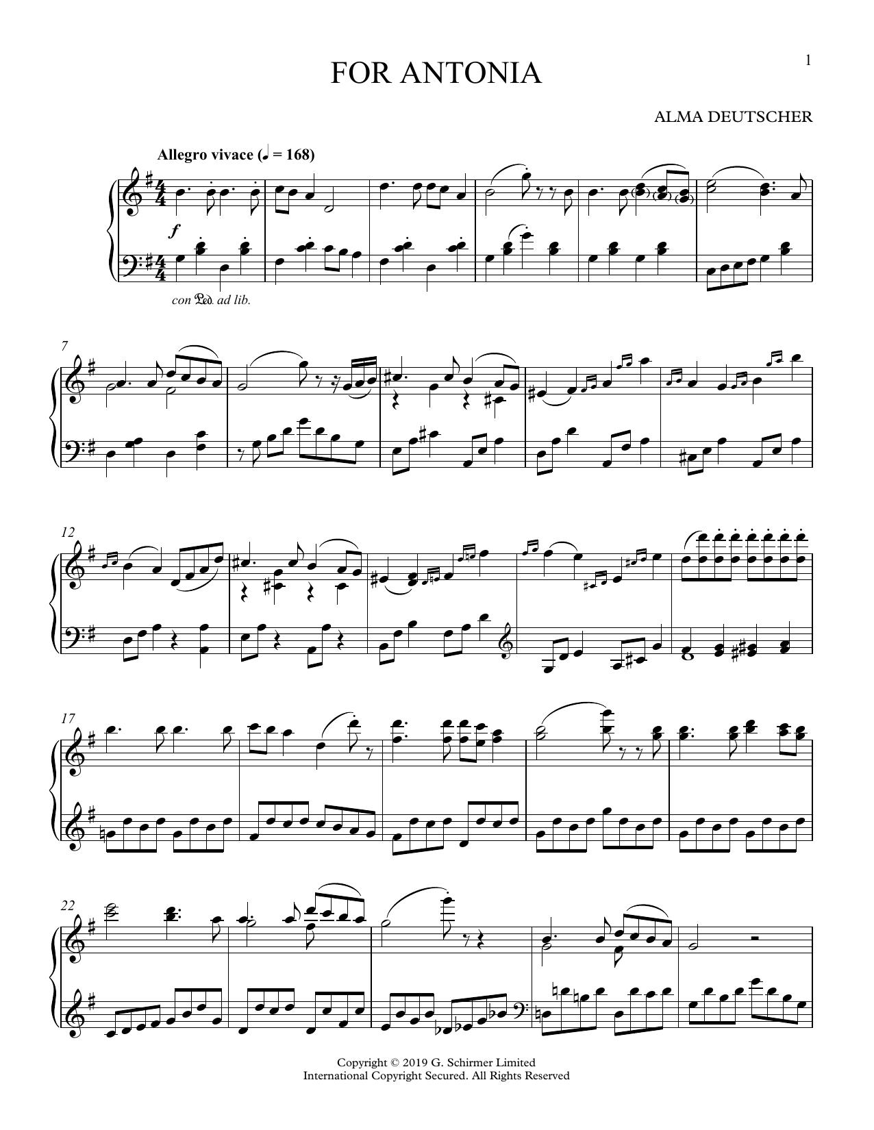 Partition piano For Antonia (Variations on a Melody in G Major) de Alma Deutscher - Piano Solo